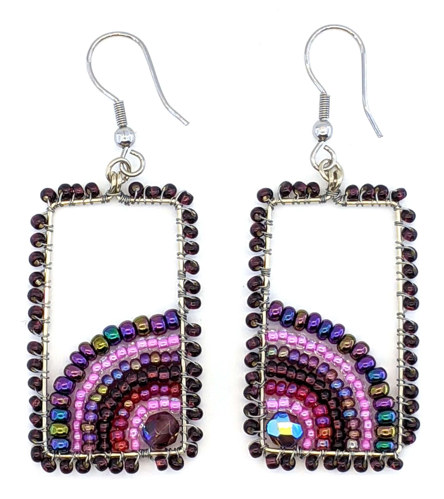 Sunrise Beaded Earrings - Purples with Pink
