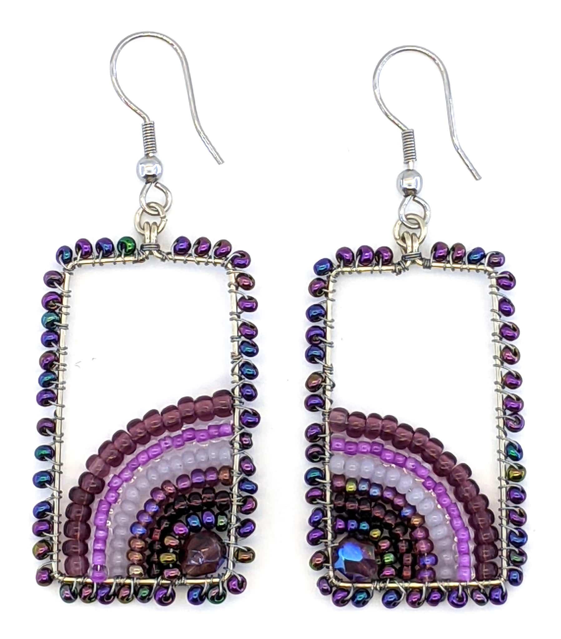 Sunrise Beaded Earrings - Purples