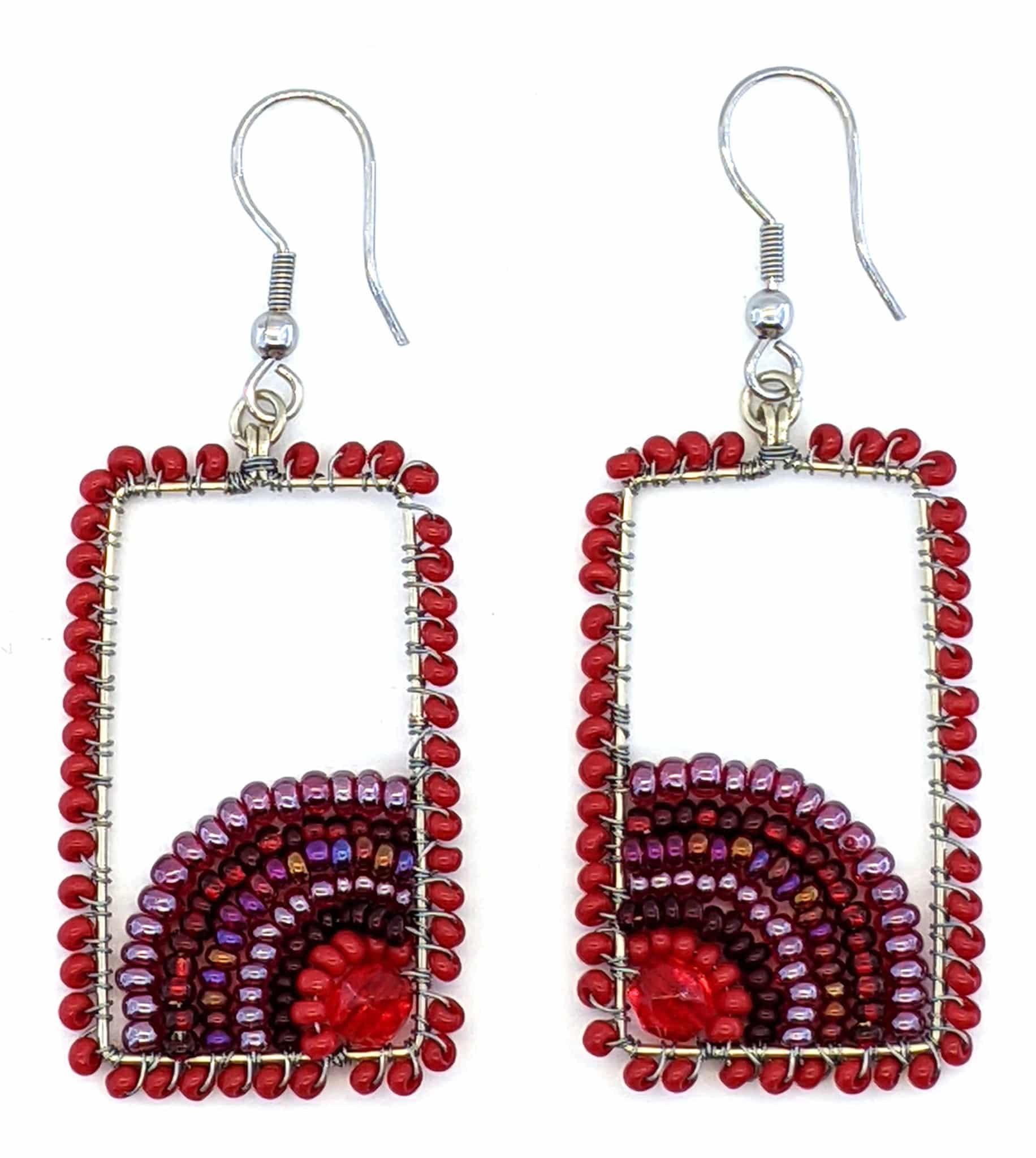 Sunrise Beaded Earrings - Reds