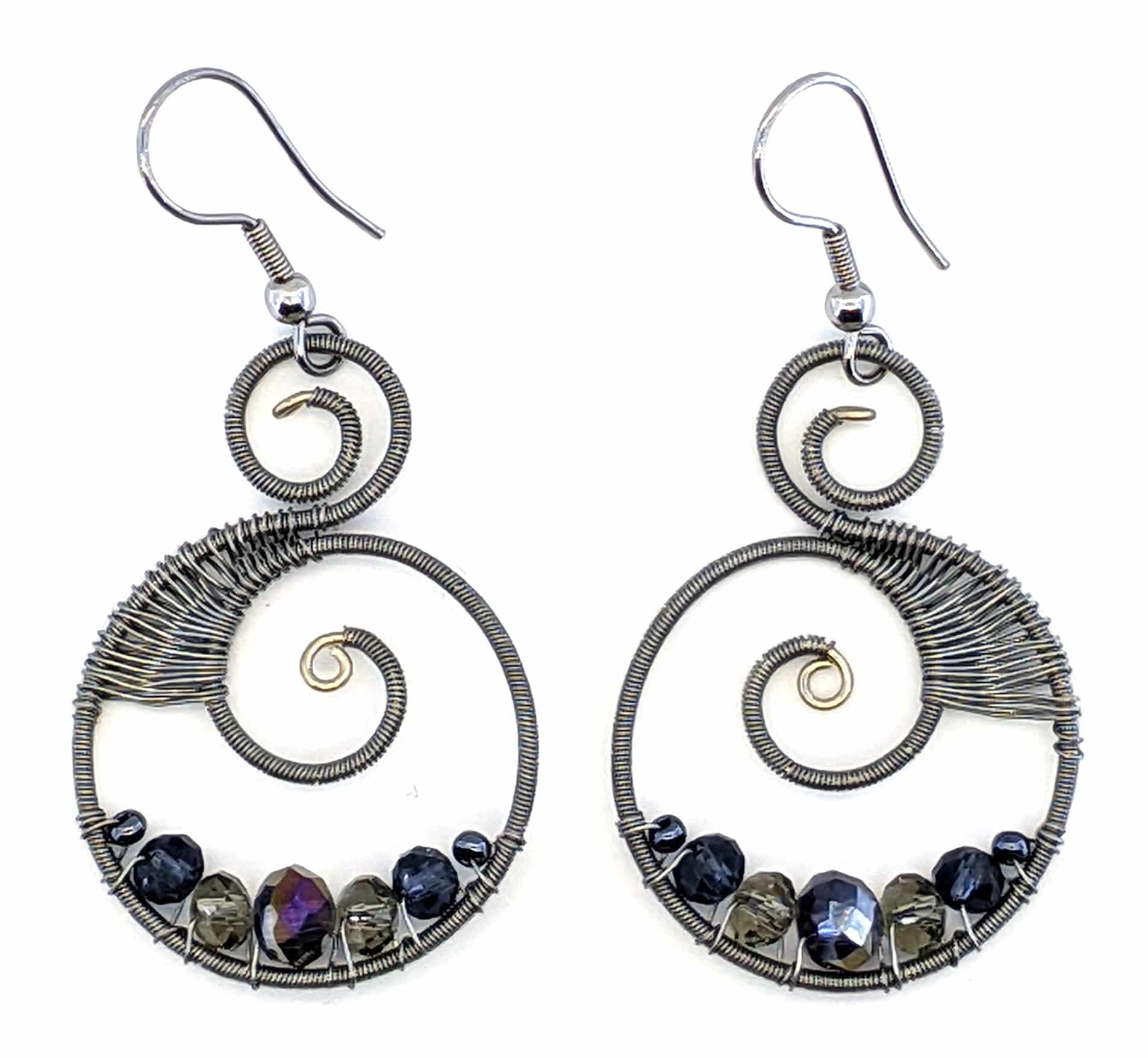 Curly Beaded Earrings - Grays