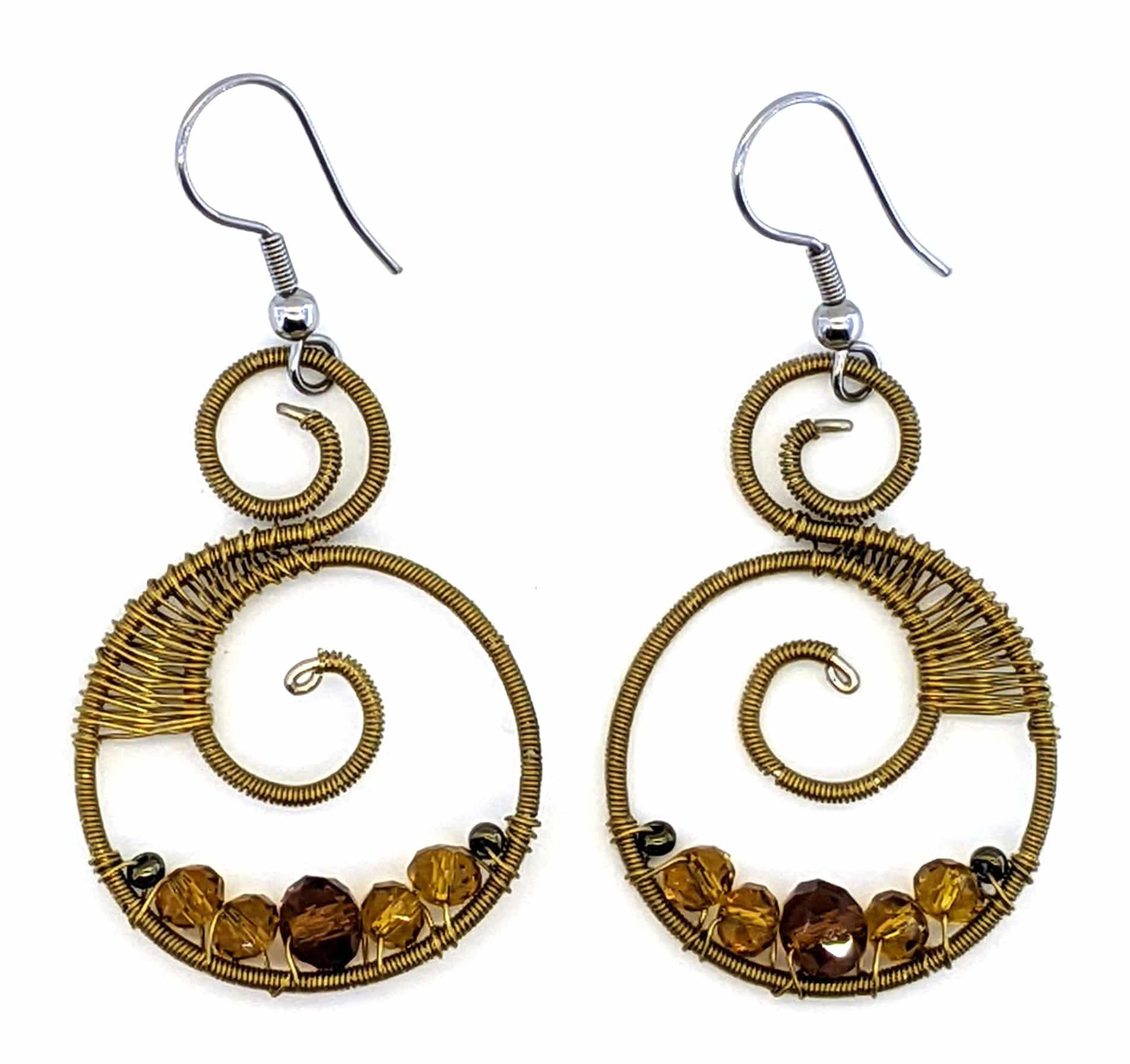 Curly Beaded Earrings - Golds
