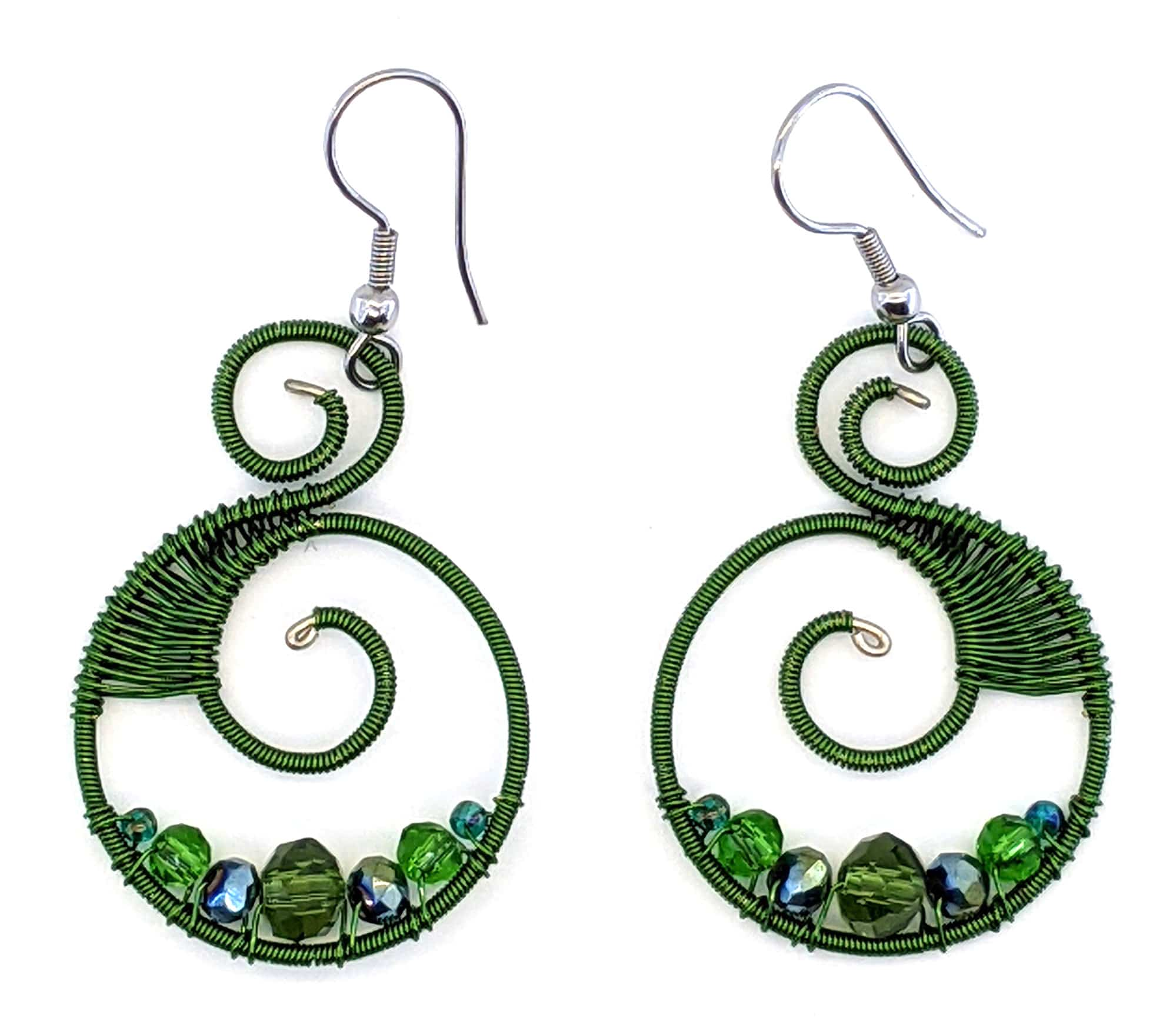 Curly Beaded Earrings - Forest Greens