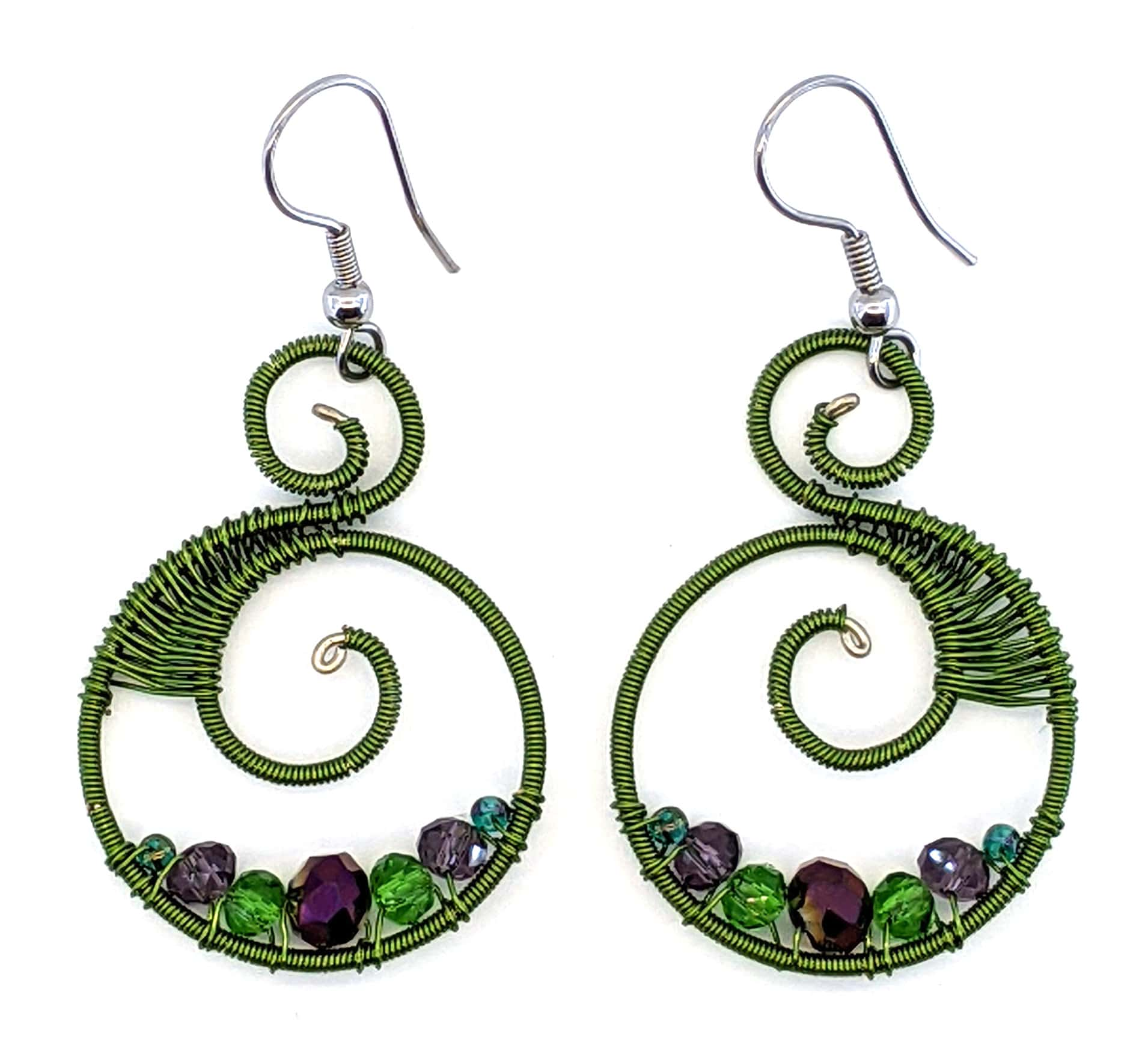 Curly Beaded Earrings - Wine Country