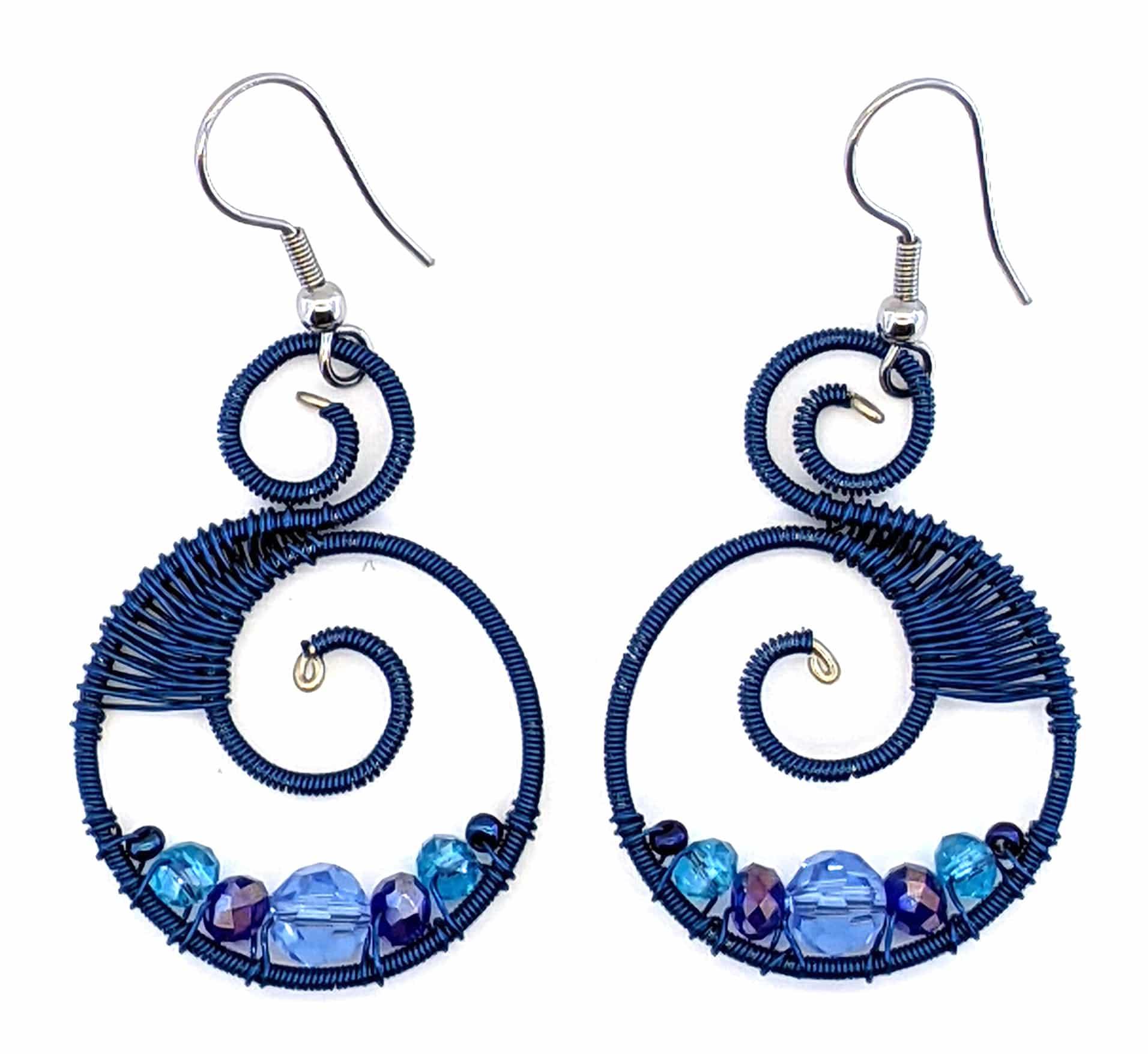 Curly Beaded Earrings - Blues