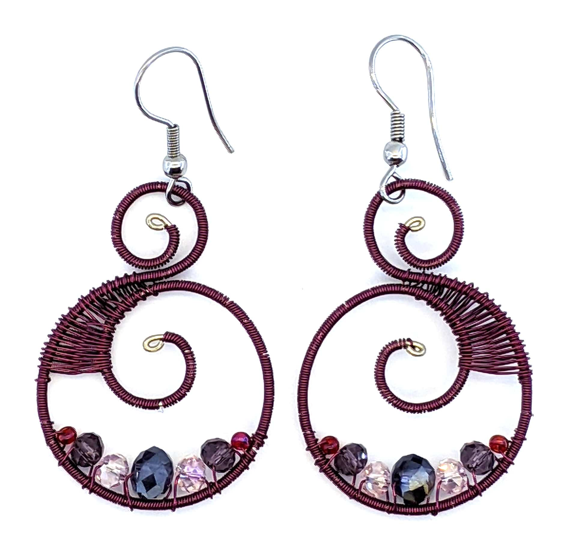 Curly Beaded Earrings - Purples with Pink