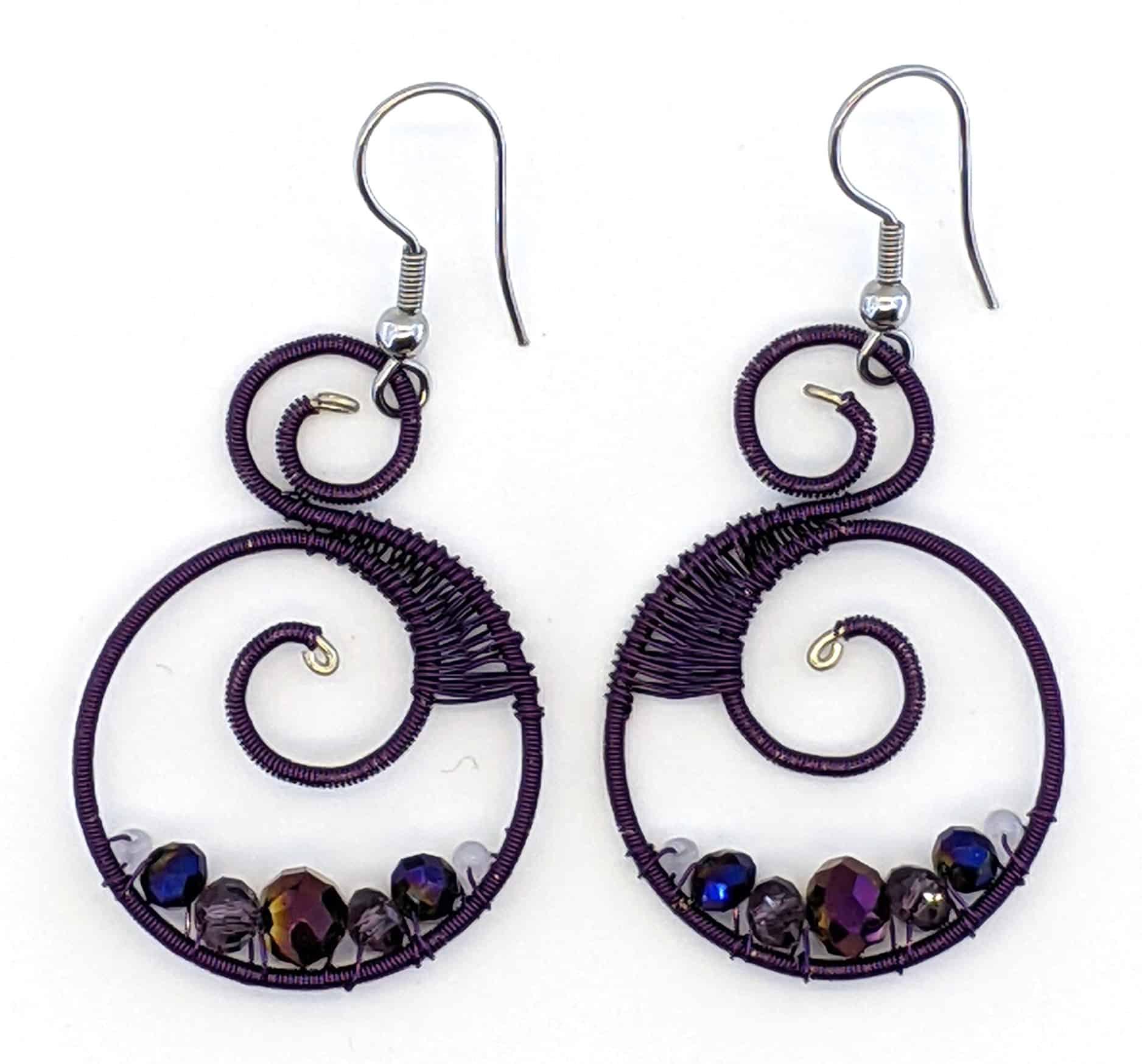 Curly Beaded Earrings - Purples