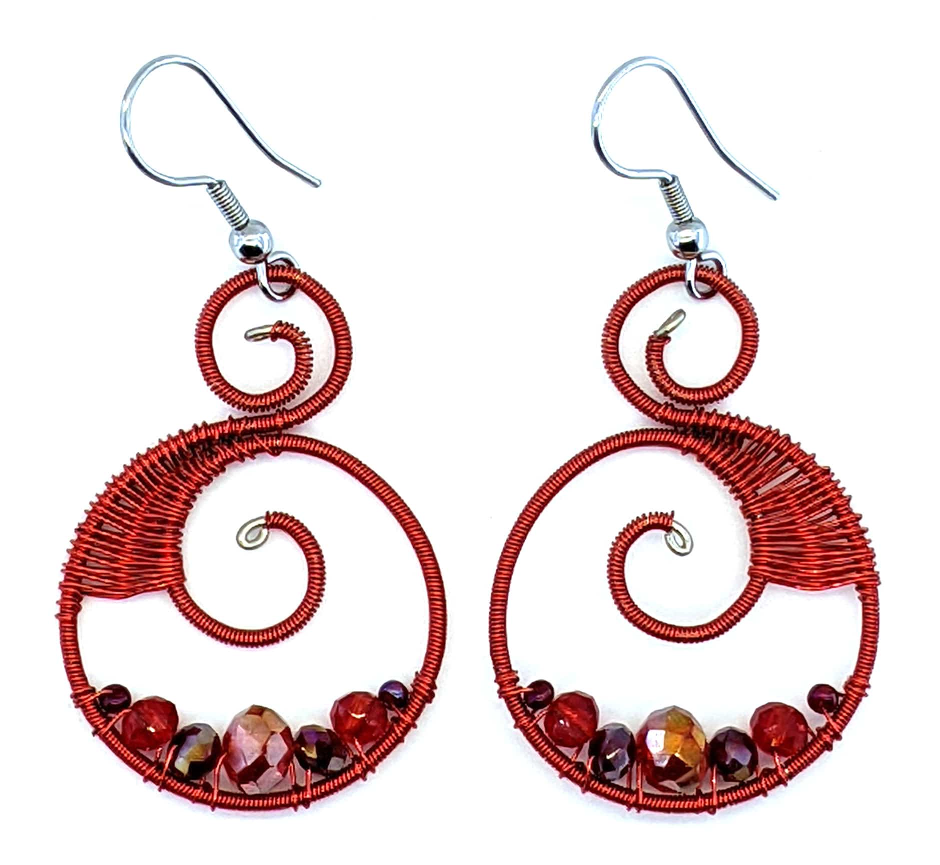 Curly Beaded Earrings - Reds