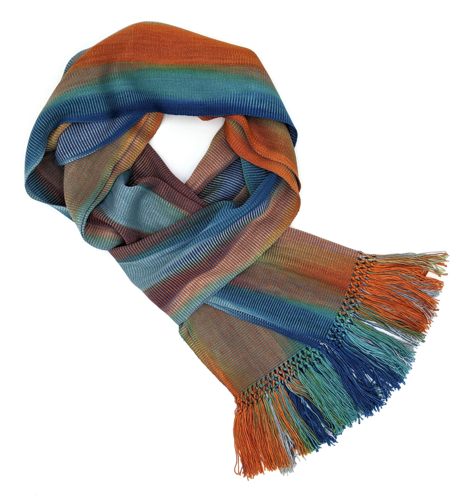 Blue, Orange, Gray - Lightweight Bamboo Handwoven Scarf 8 x 68