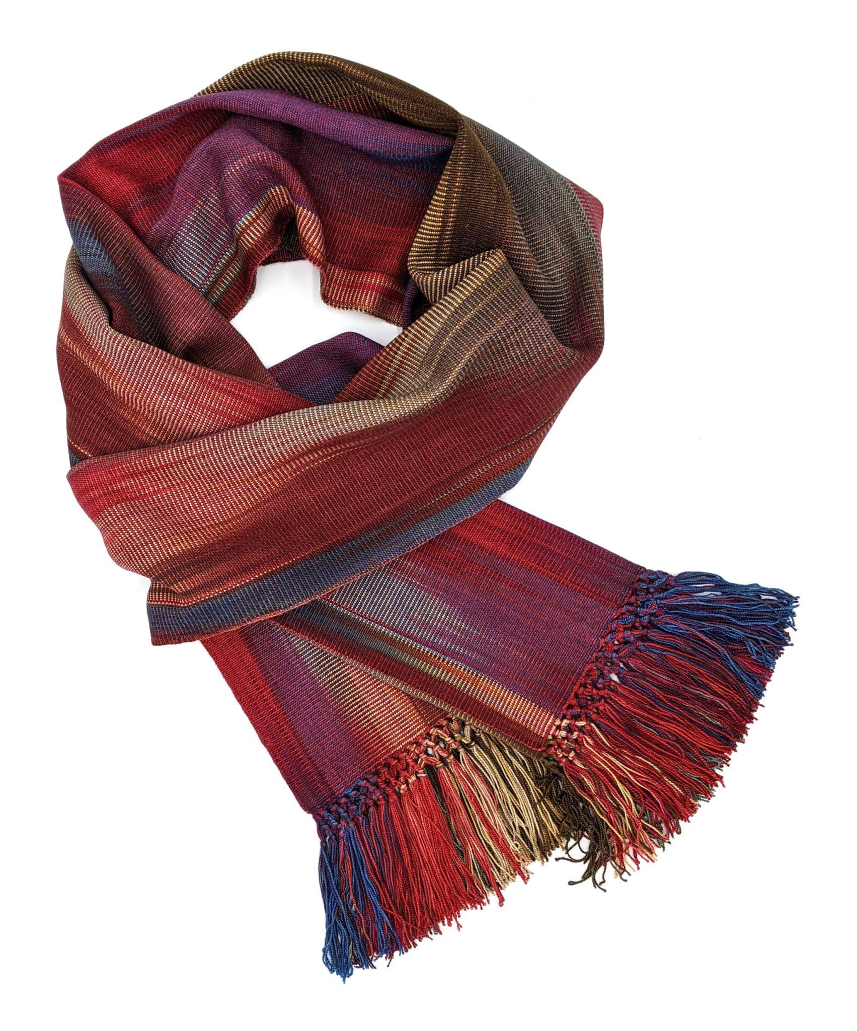 Red, Blue, Cream, Brown - Lightweight Bamboo Handwoven Scarf 8 x 68