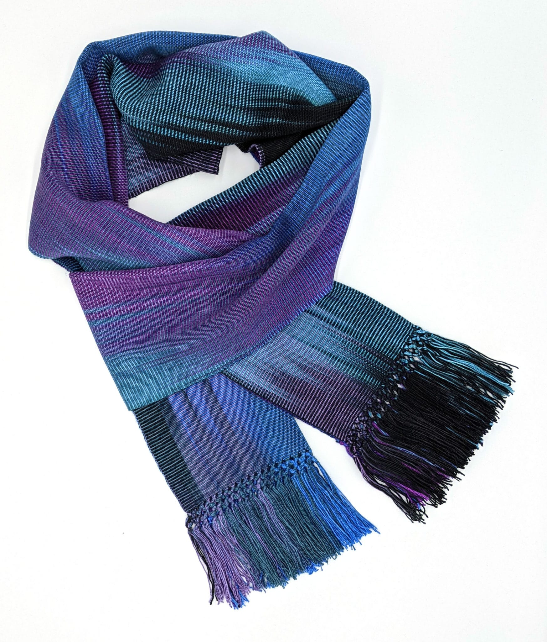 Blue, Teal, Black and Purple Lightweight Bamboo Handwoven Scarf 8 x 68
