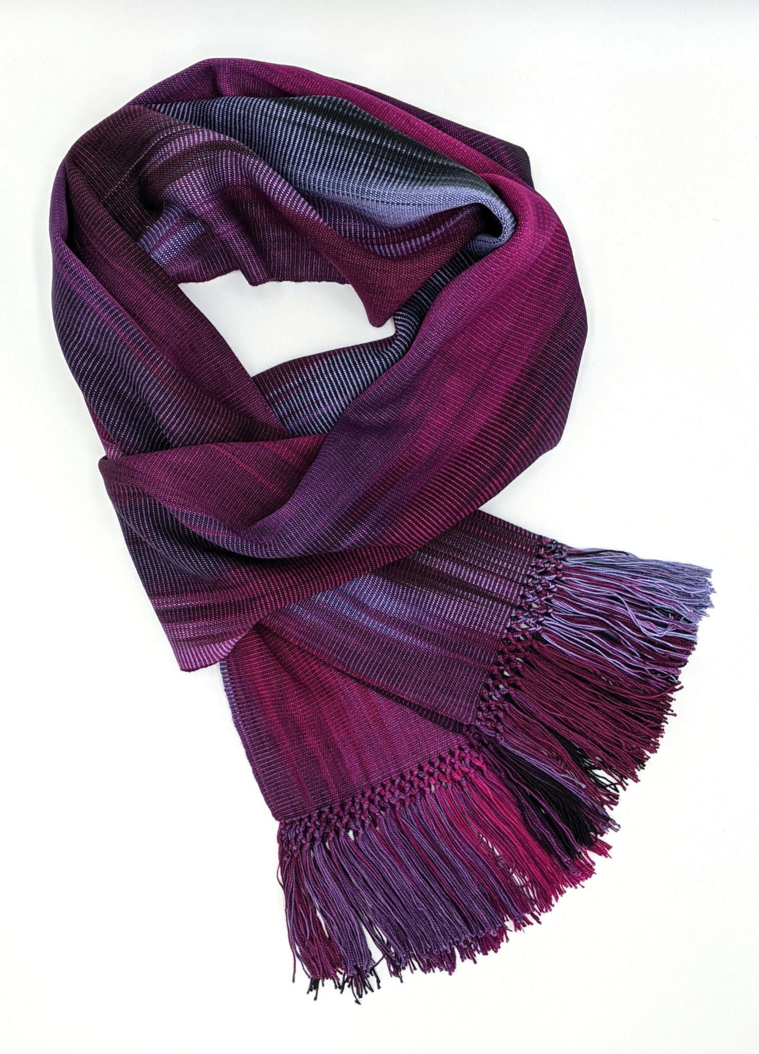 Magenta, Light Violet and Black Lightweight Bamboo Handwoven Scarf 8 x 68