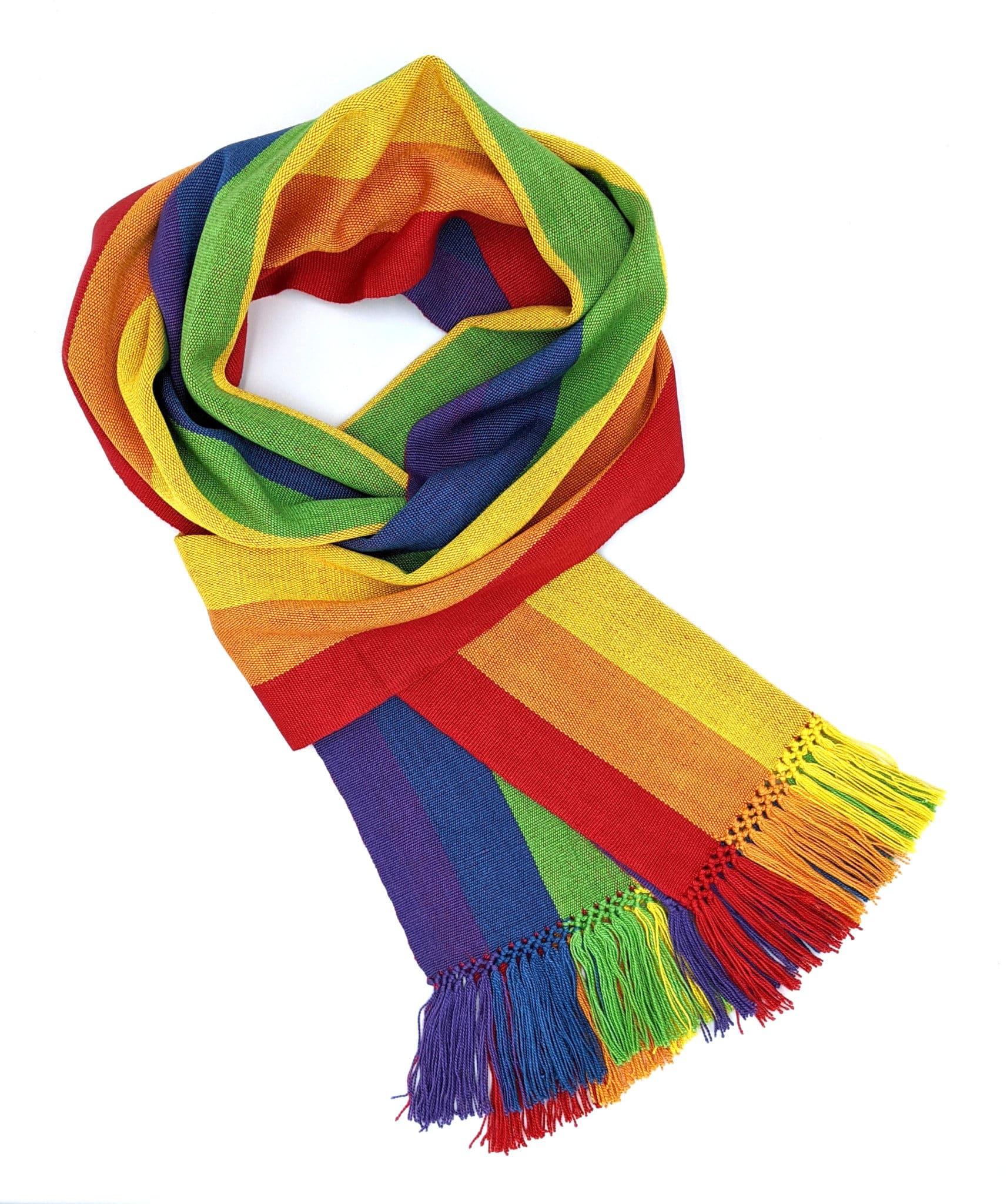 Rainbow Stripes - Lightweight Bamboo Handwoven Scarf 8 x 68