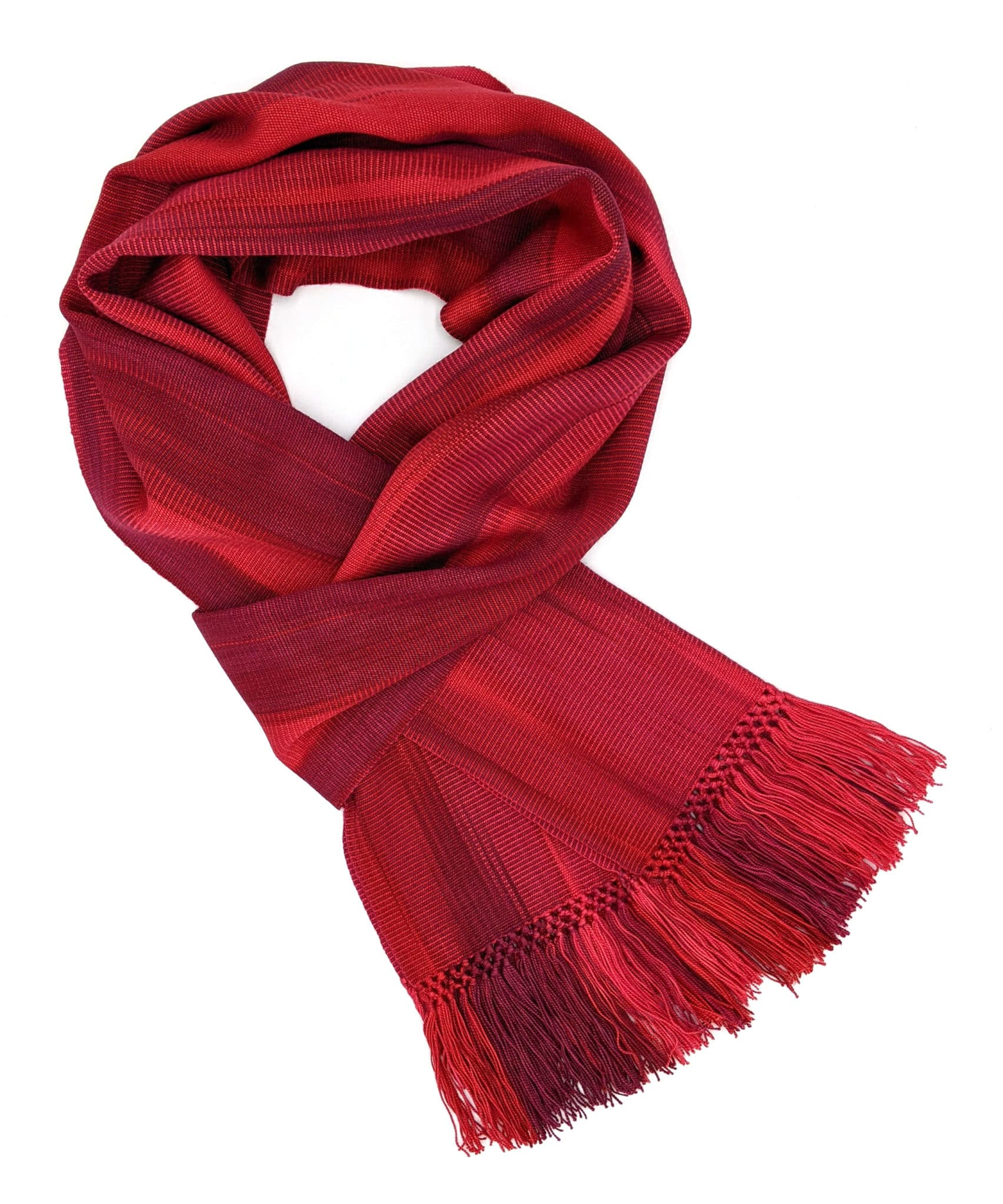 Reds (Bright!) - Lightweight Bamboo Handwoven Scarf 8 x 68