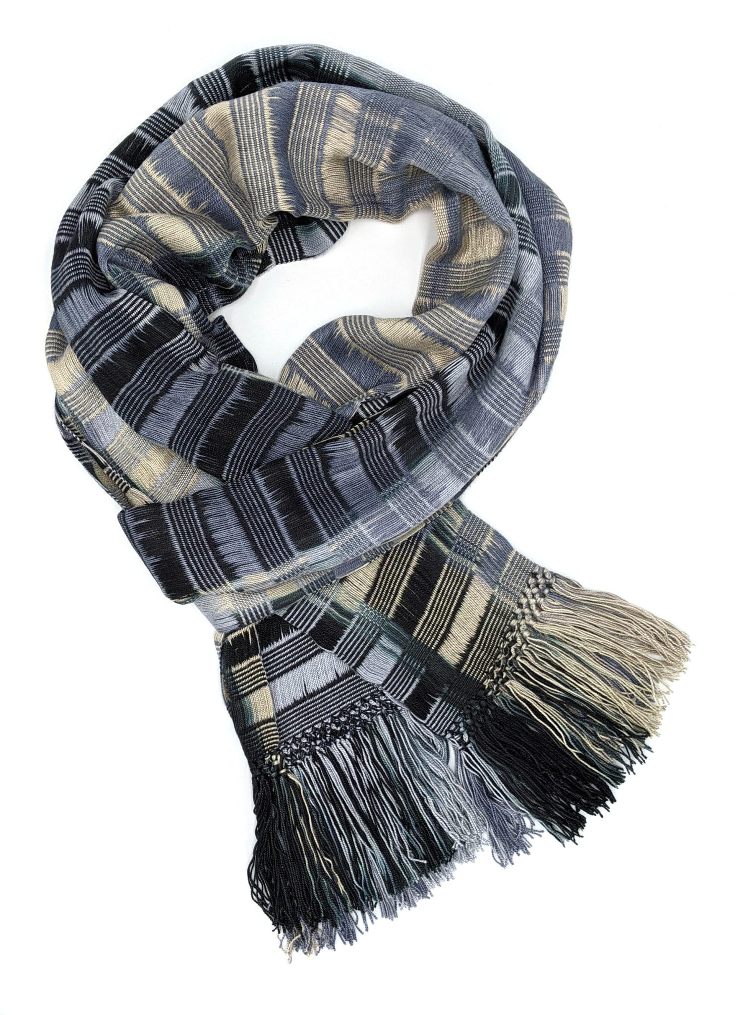 Black, Gray, Beige - Lightweight Bamboo Open-Weave Handwoven Scarf 8 x 68