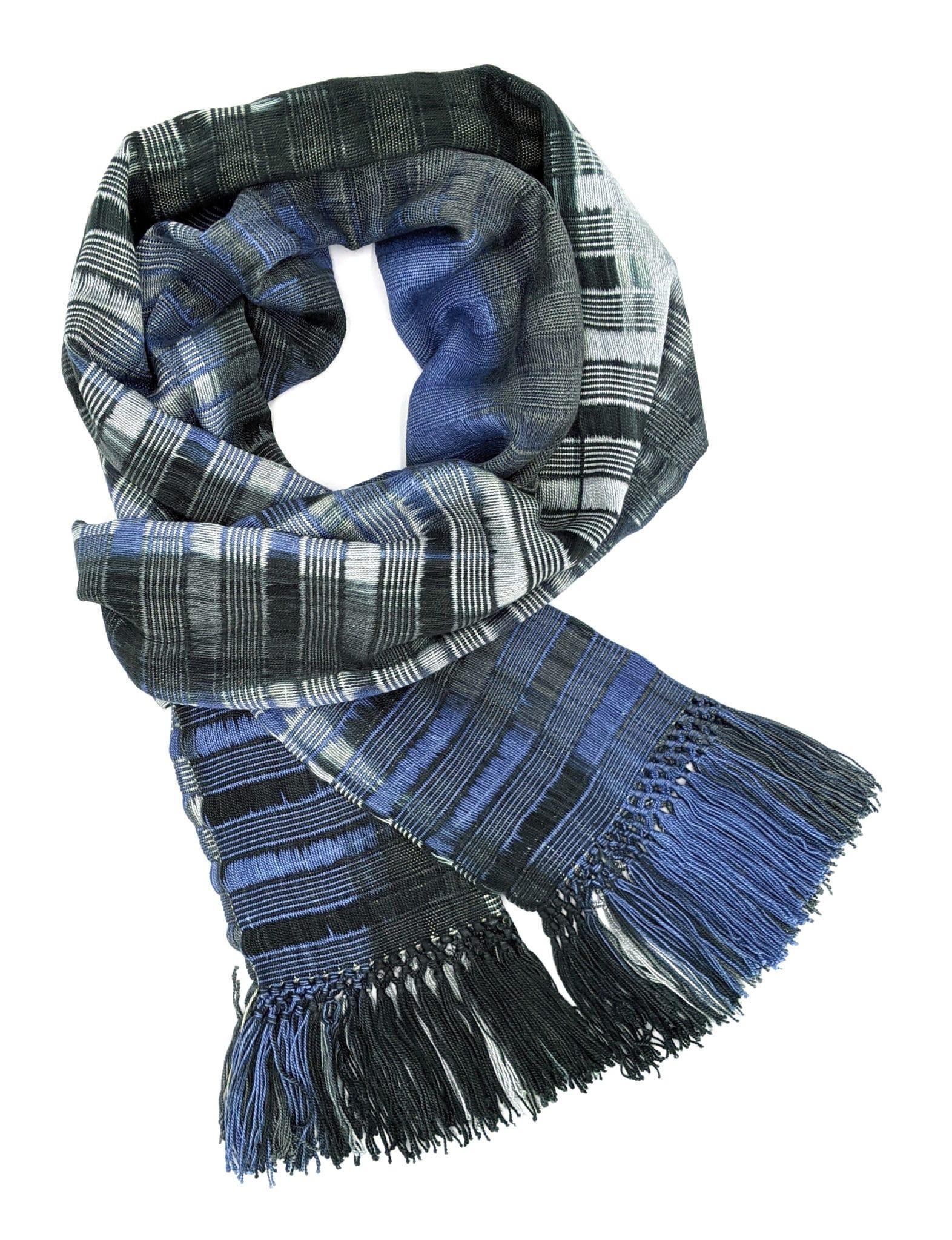 Blue, Grays, Black - Lightweight Bamboo Open-Weave Handwoven Scarf 8 x 68