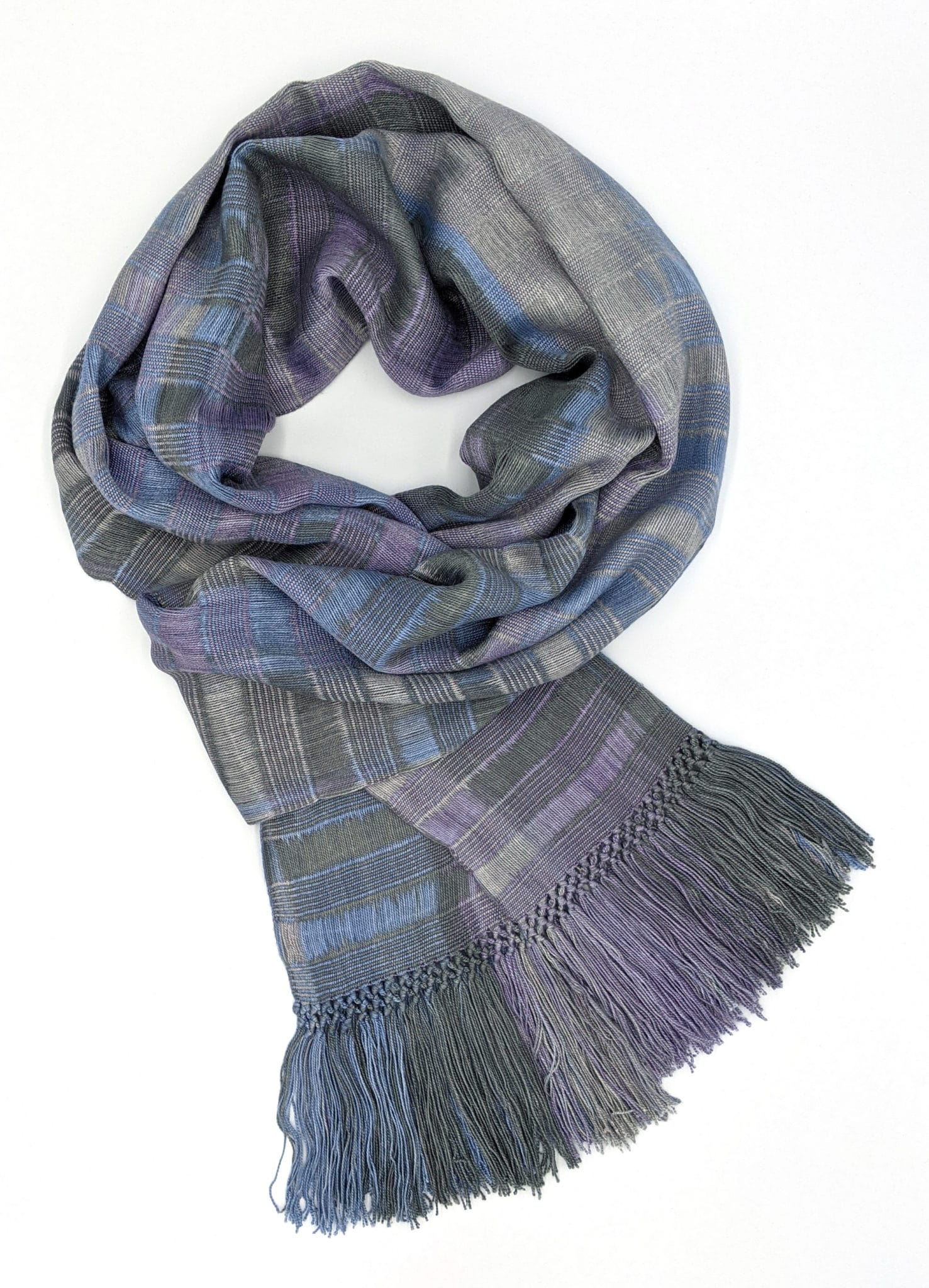Lilac, Pale Blue, Gray - Lightweight Bamboo Open-Weave Handwoven Scarf 8 x 68