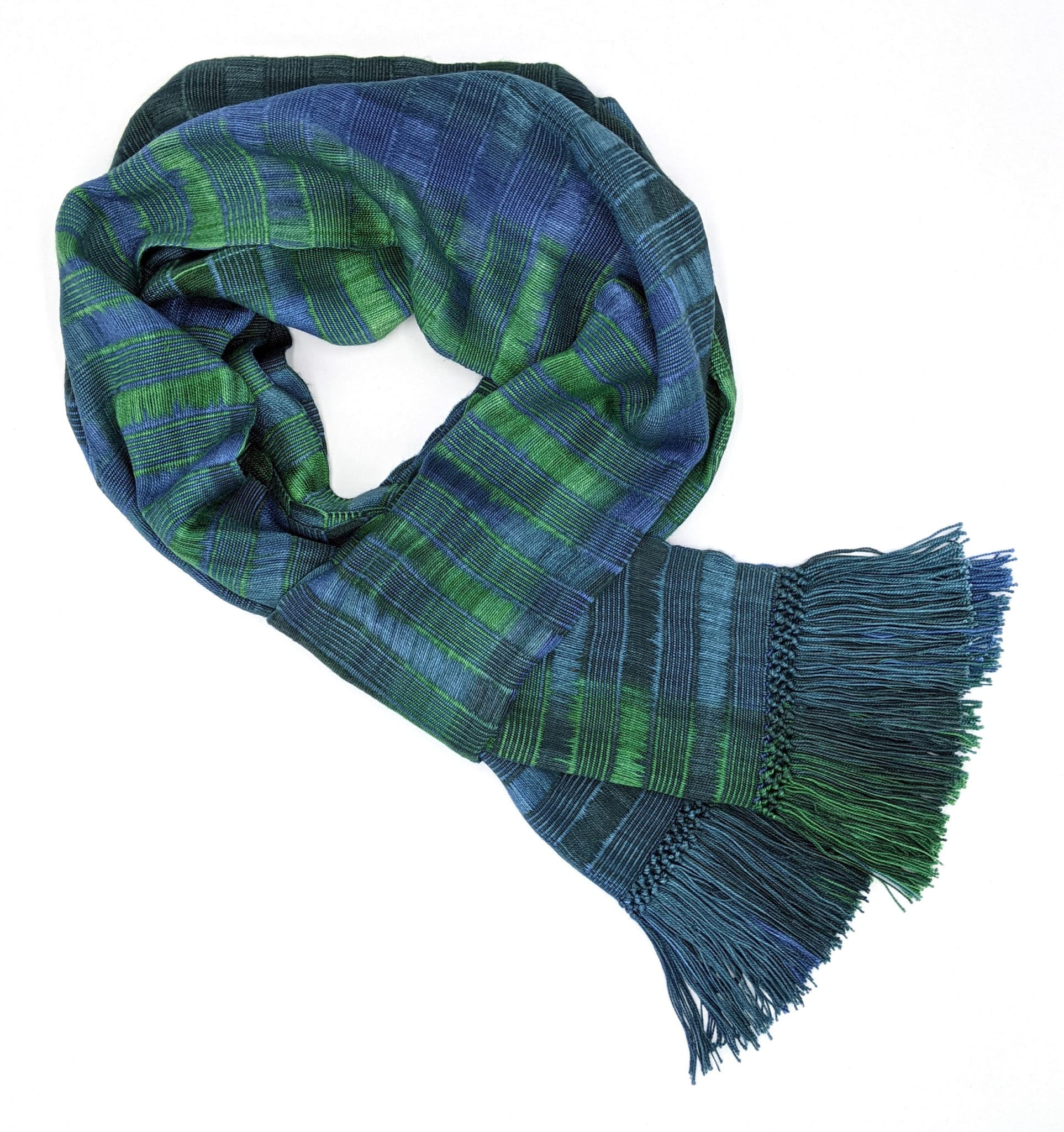 Emerald and Sapphire (Green and Blue) - Lightweight Bamboo Open-Weave Handwoven Scarf 8 x 68