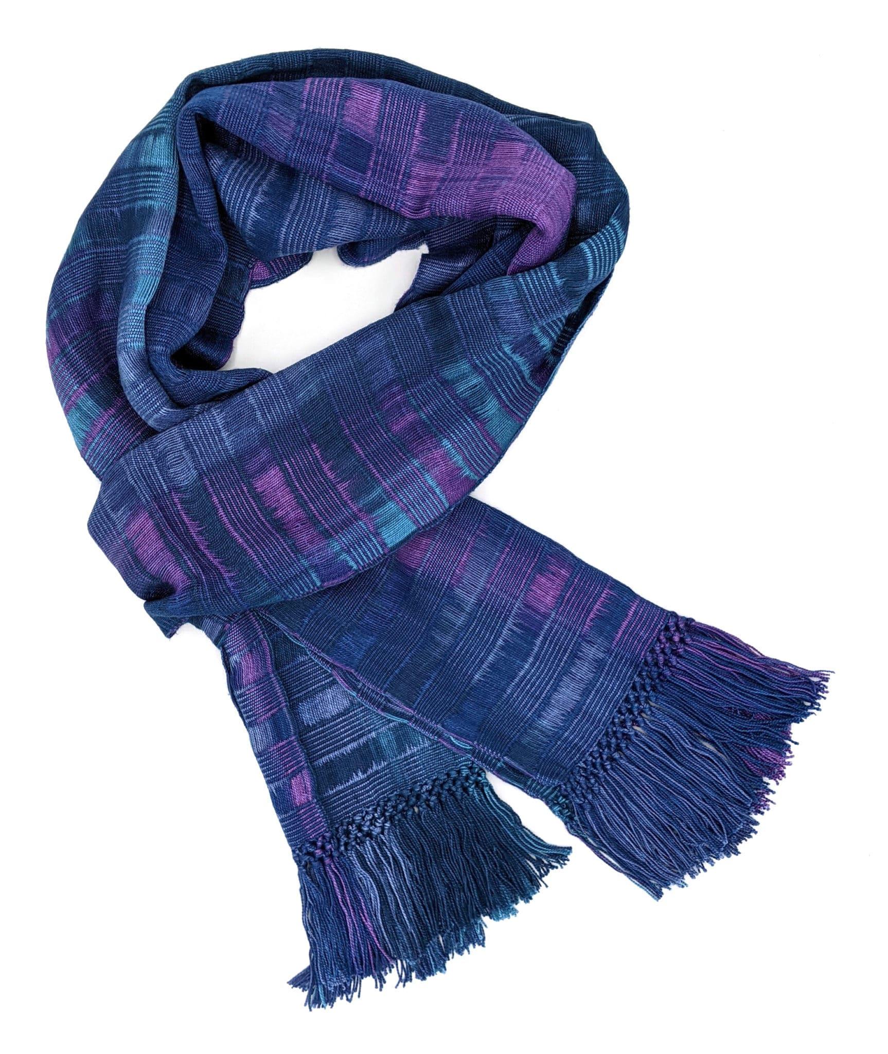Blues, Purples - Lightweight Bamboo Open-Weave Handwoven Scarf 8 x 68