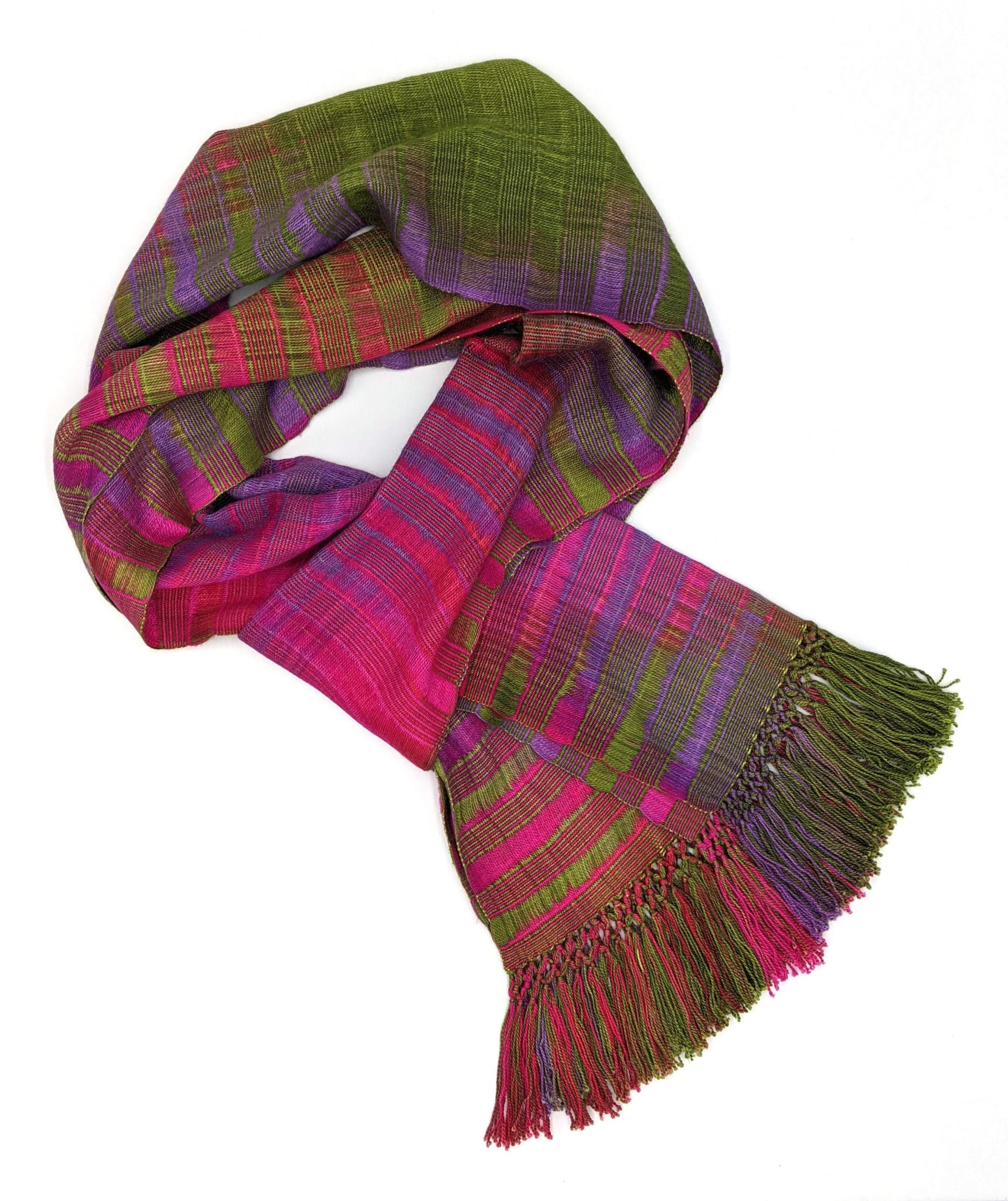Fuchsia, Olive, Purple - Lightweight Bamboo Open-Weave Handwoven Scarf 8 x 68