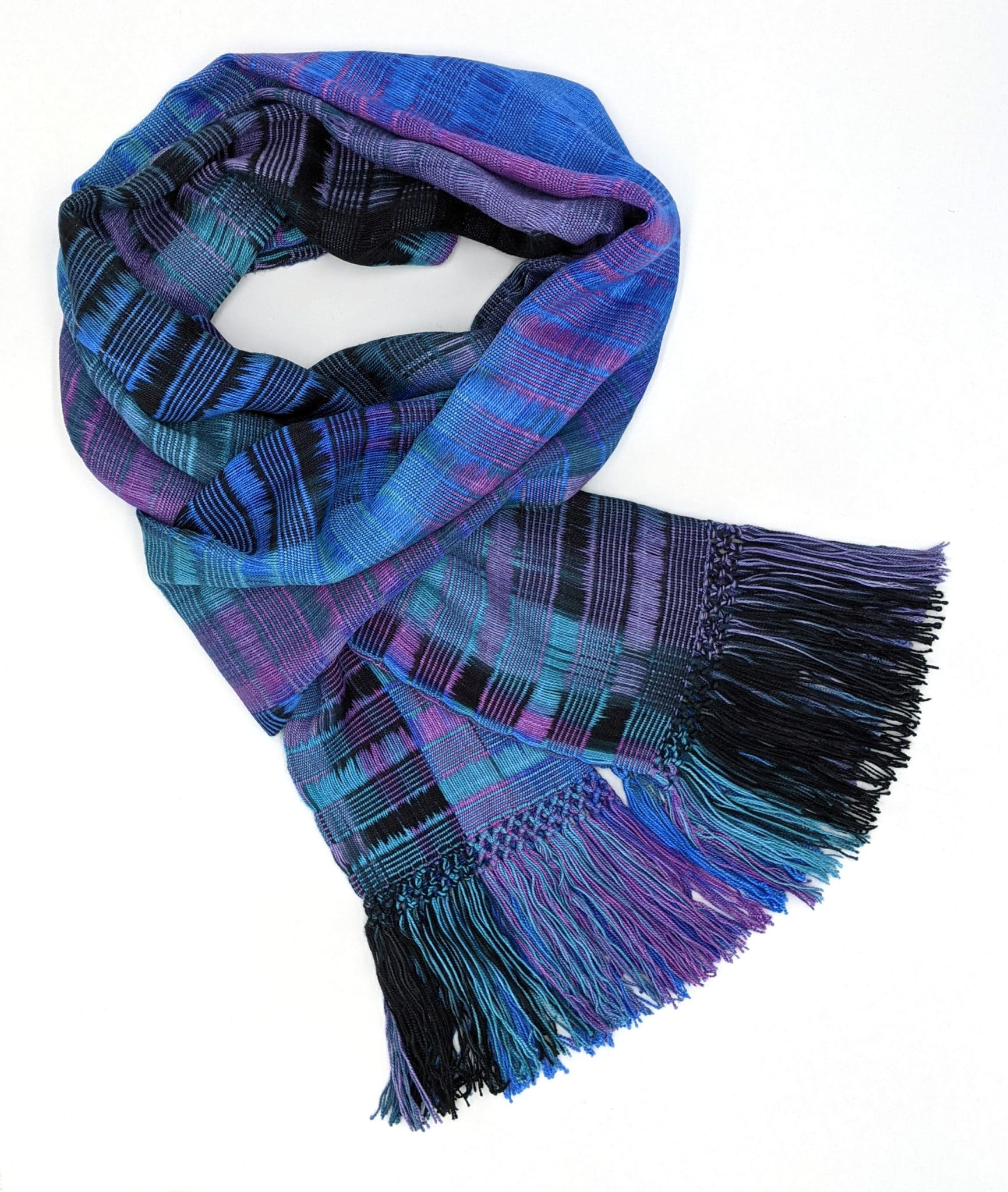 Blue, Teal, Black and Purple Lightweight Bamboo Open-Weave Handwoven Scarf 8 x 68