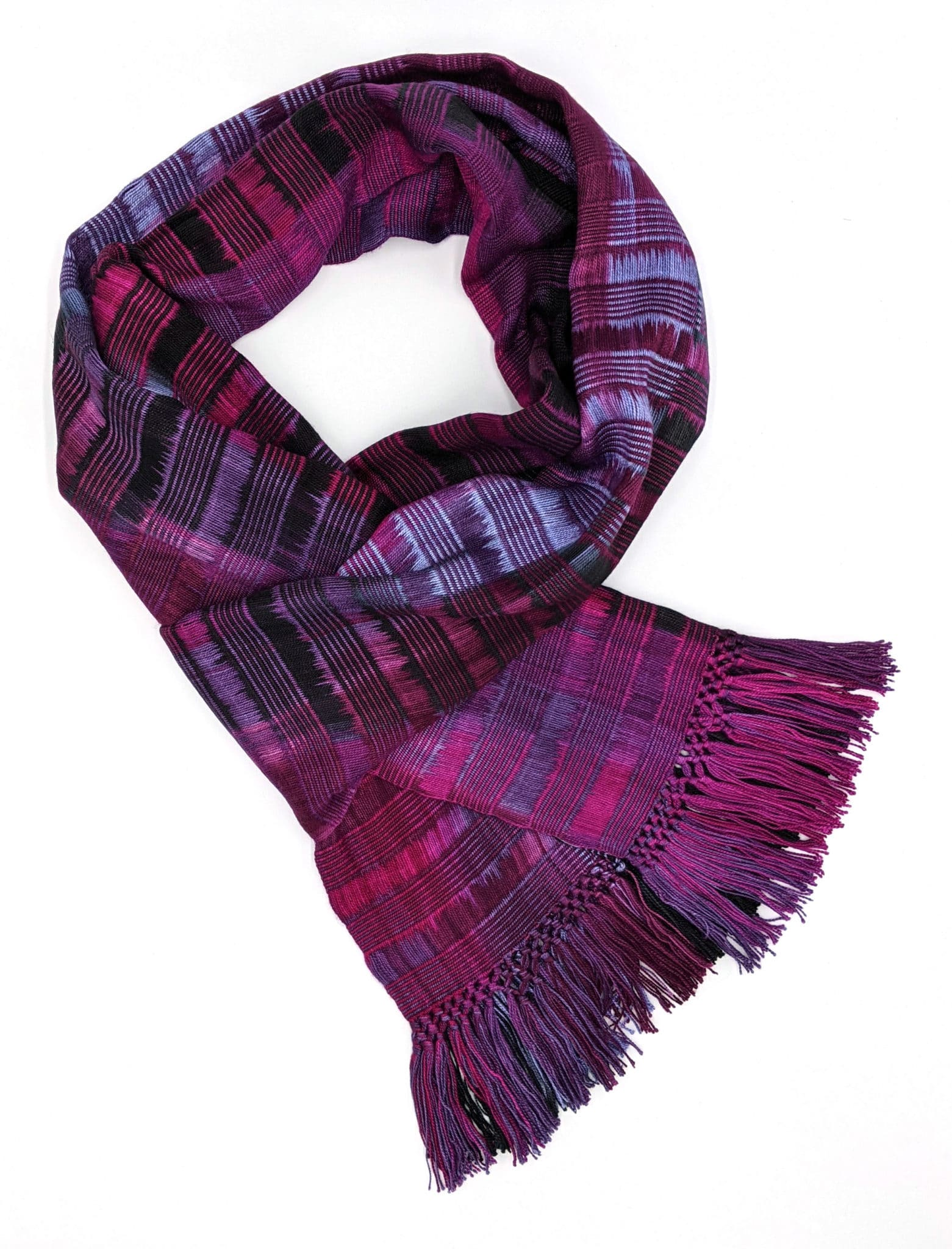 Magenta, Light Violet and Black Lightweight Bamboo Open-Weave Handwoven Scarf 8 x 68