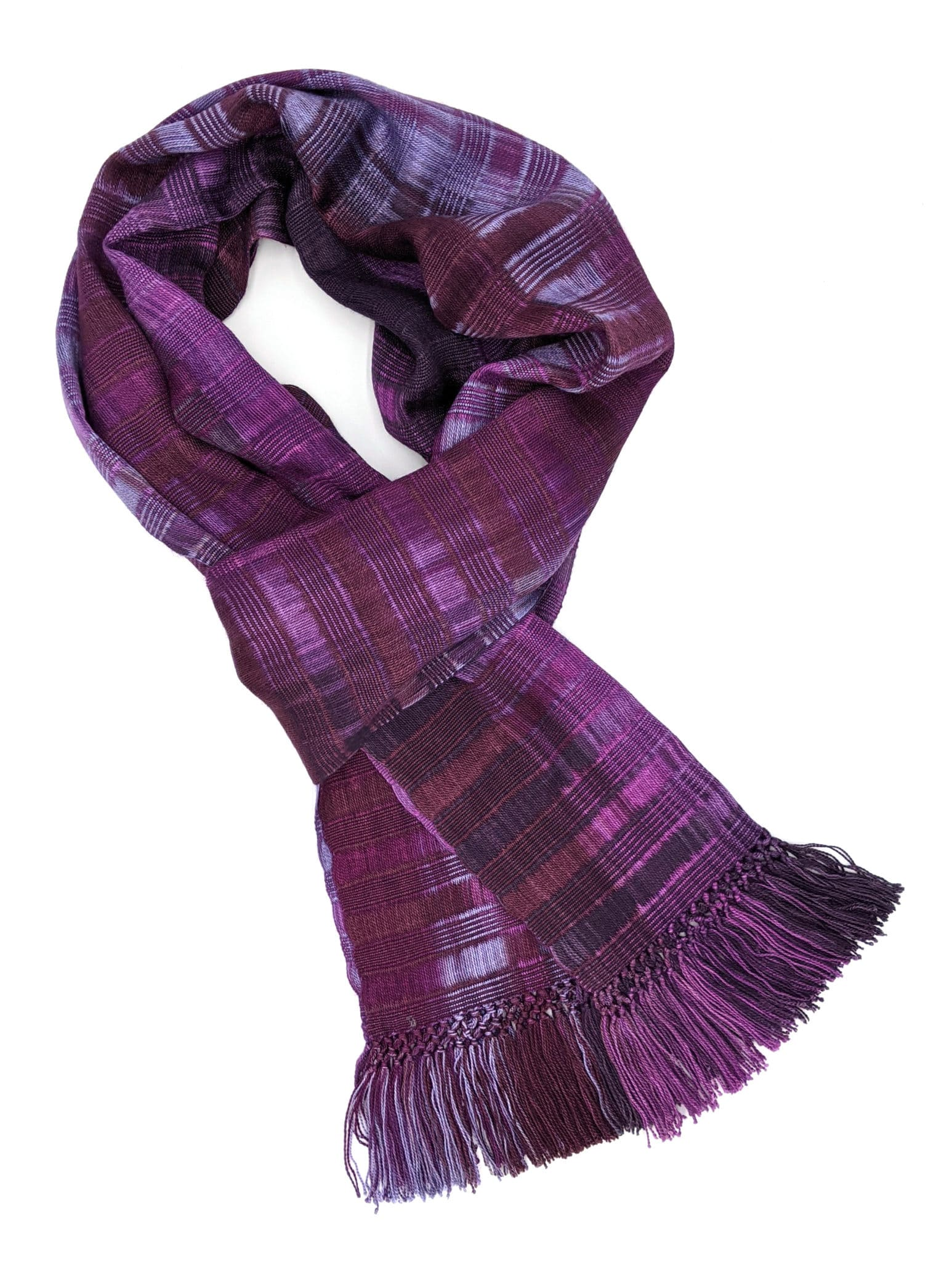Purples, Lilac, Violet - Lightweight Bamboo Open-Weave Handwoven Scarf 8 x 68