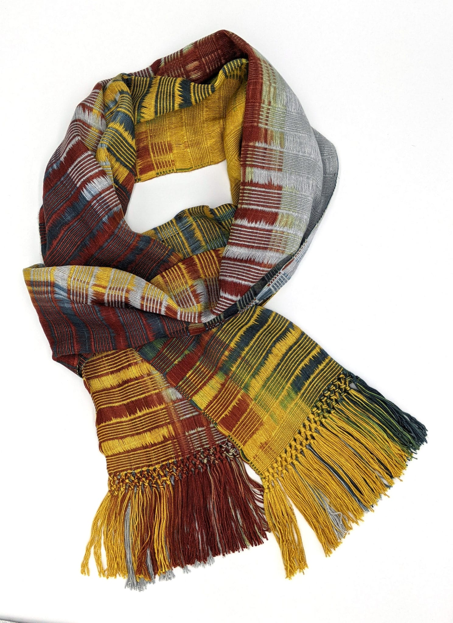 Gold, Burgundy, Black and Gray Lightweight Bamboo Handwoven Scarf 8 x 68