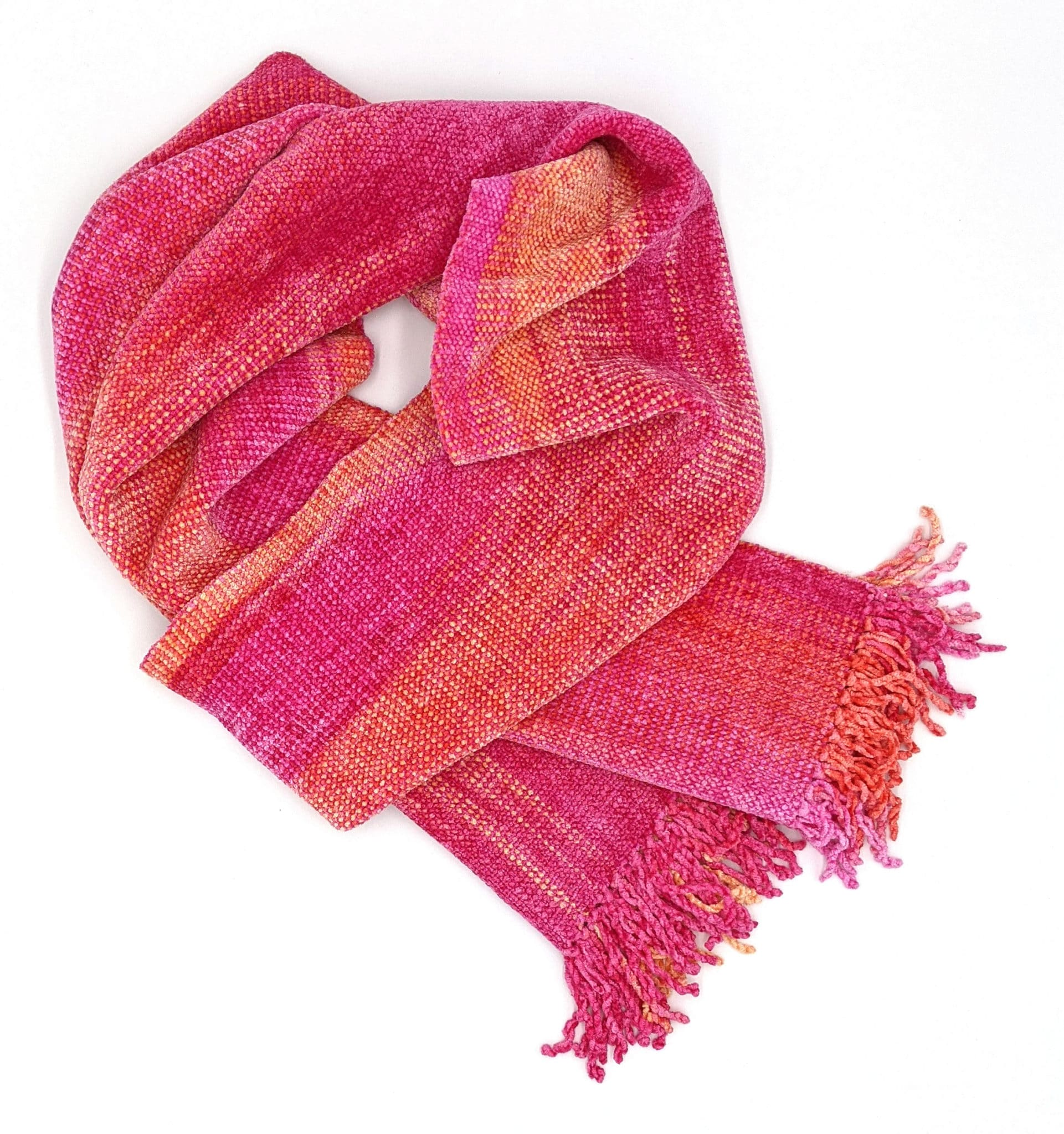Pink, Yellow - Bamboo Chenille Handwoven Scarf 8 x 68