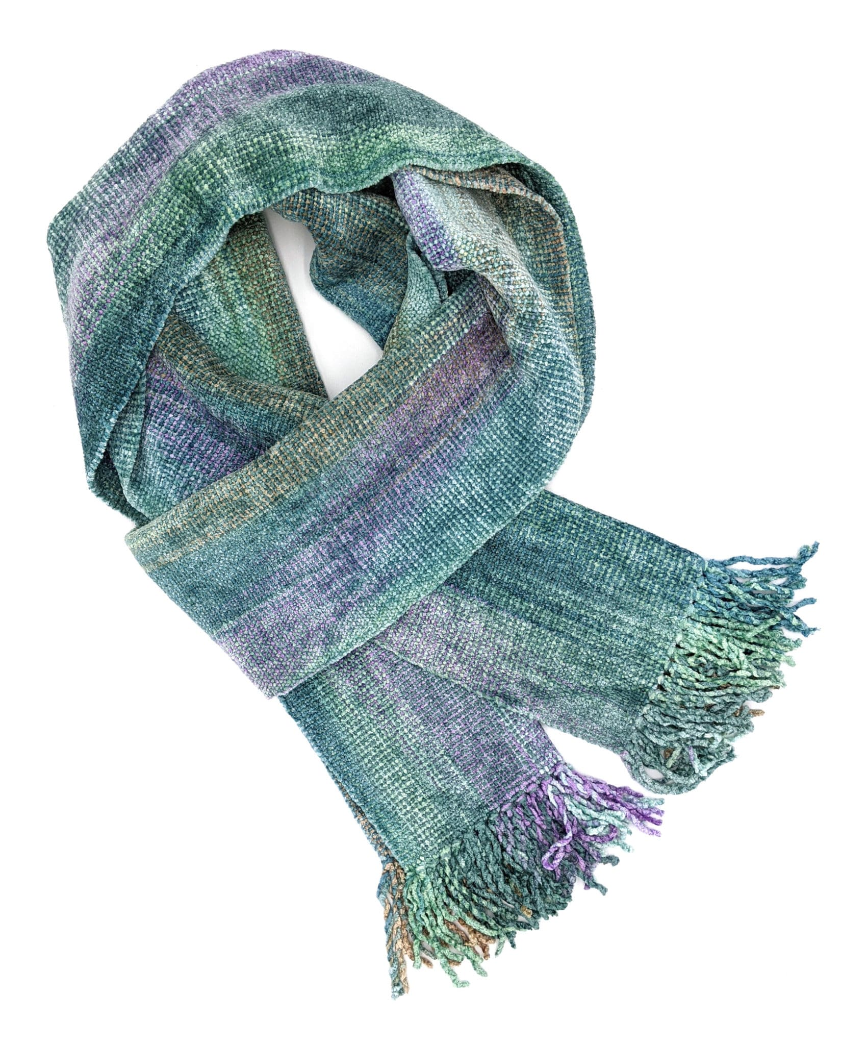 Pale Blue, Lilac, Jade, Beige - Bamboo Chenille Handwoven Scarf 8 x 68
