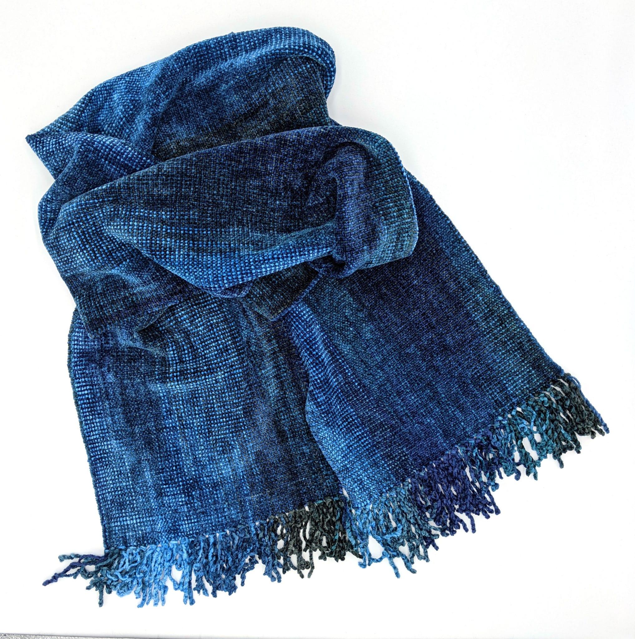 Blues, Dark Gray - Bamboo Chenille Handwoven Scarf 8 x 68