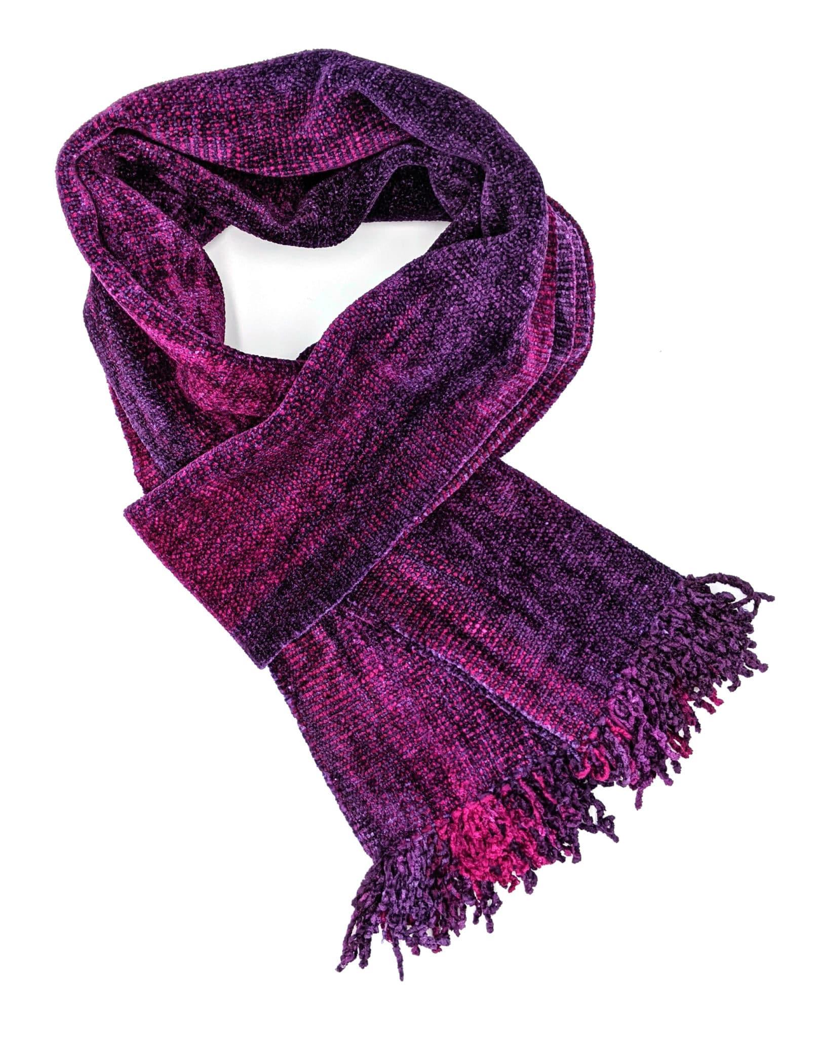 Magenta, Purple - Bamboo Chenille Handwoven Scarf 8 x 68