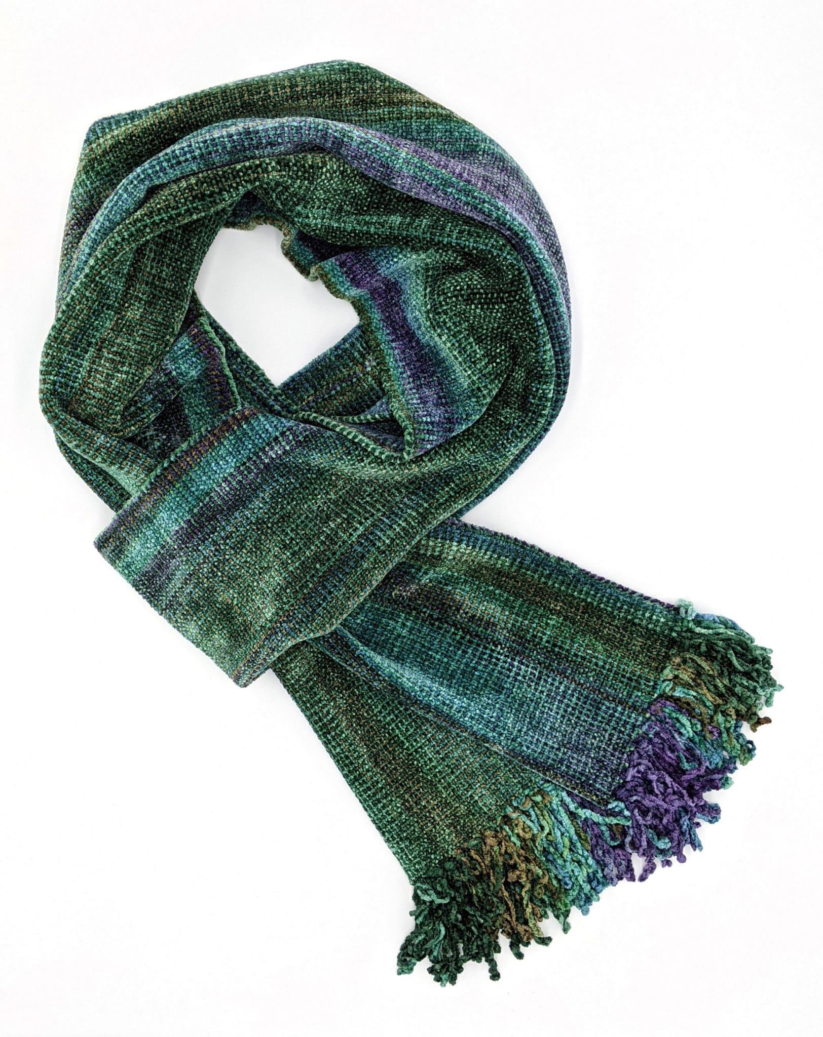 Green, Purple, Blue - Bamboo Chenille Handwoven Scarf 8 x 68