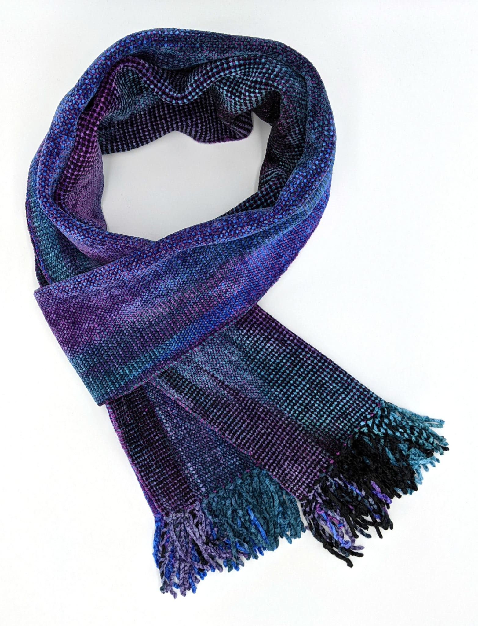 Blue, Teal, Black, and Purple Bamboo Chenille Handwoven Scarf 8 x 68