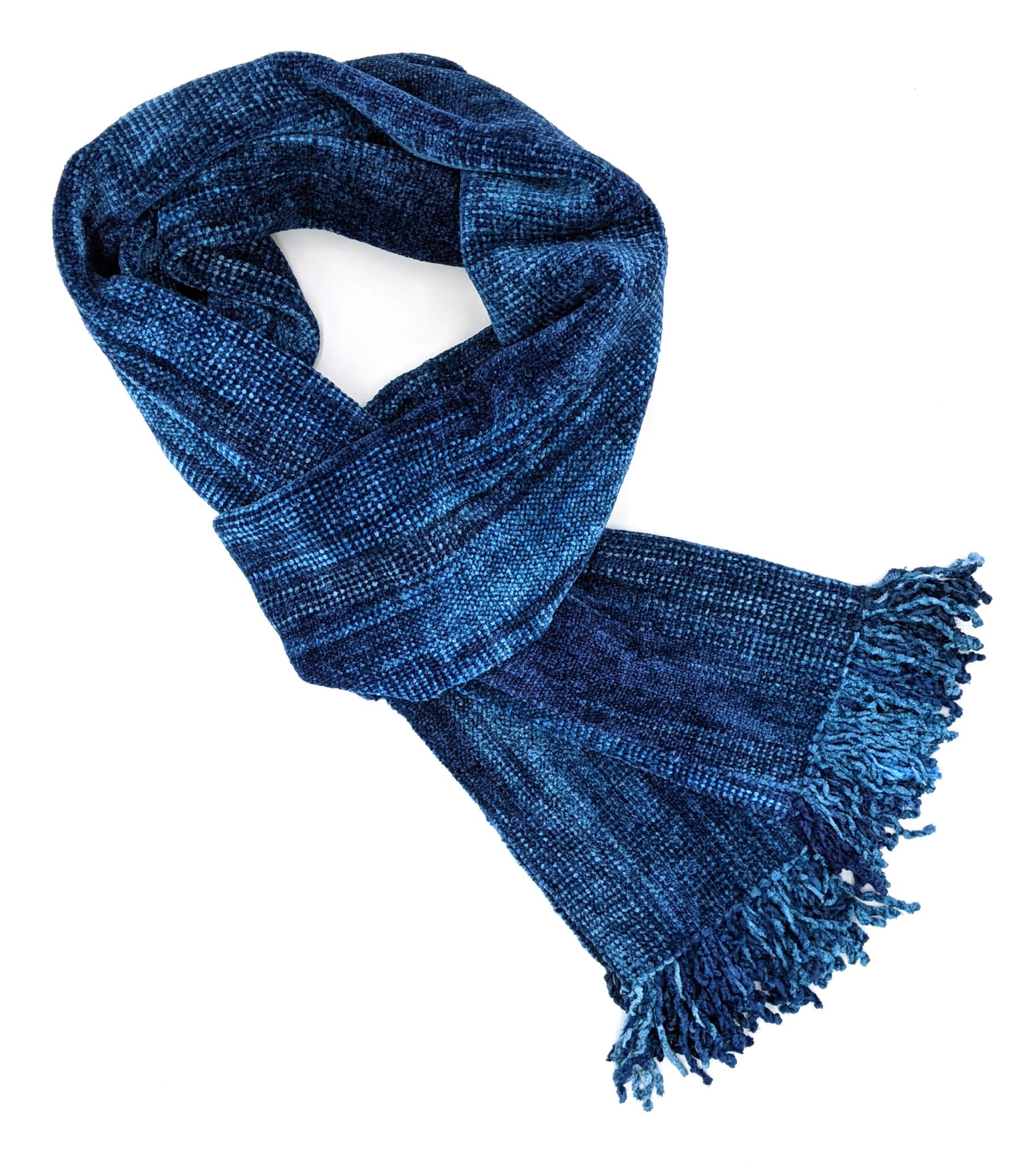 Blues - Bamboo Chenille Handwoven Scarf 8 x 68