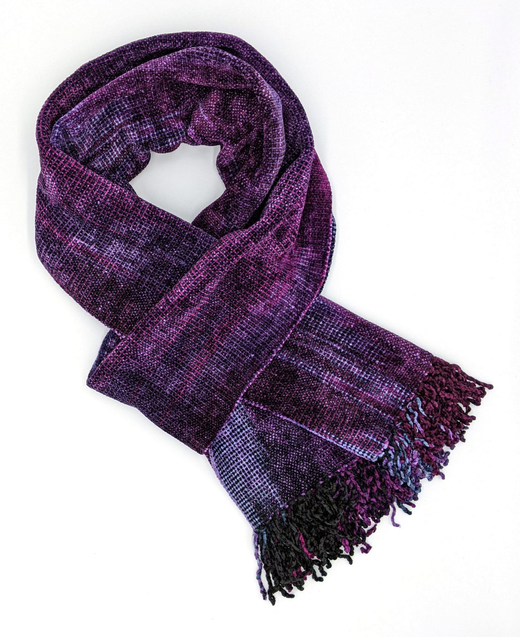 Magenta, Light Violet, and Black Bamboo Chenille Handwoven Scarf 8 x 68