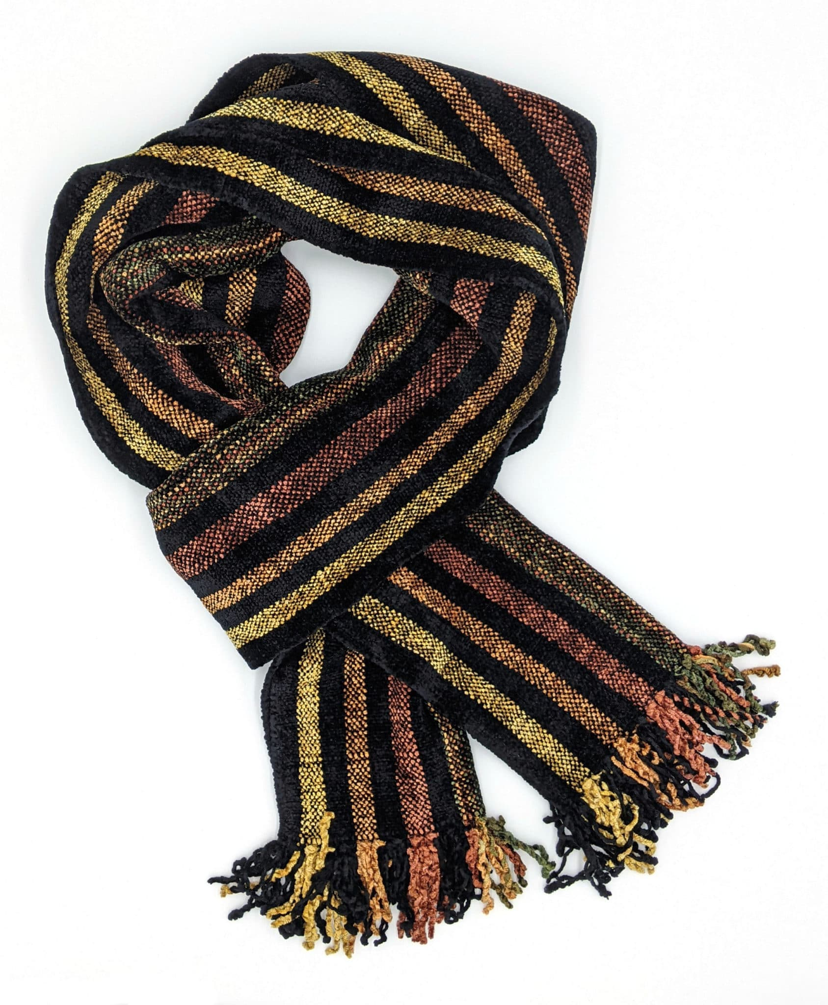 Black and Autumn Stripes Bamboo Chenille Handwoven Scarf