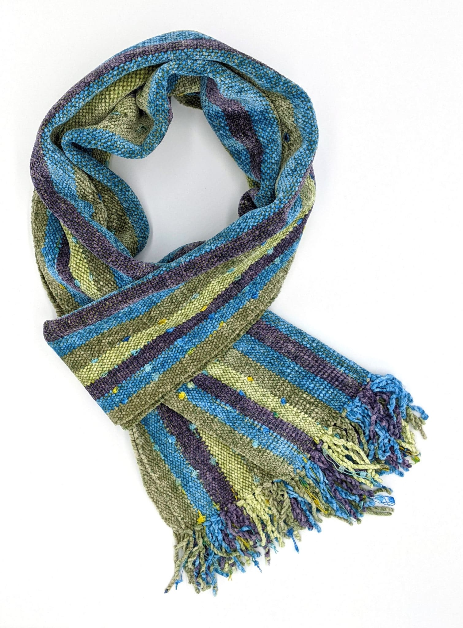 Lilac, Celestial Blue, Pale Green with Ornamental Yarn Accents - Bamboo Chenille Handwoven Scarf 8 x 68
