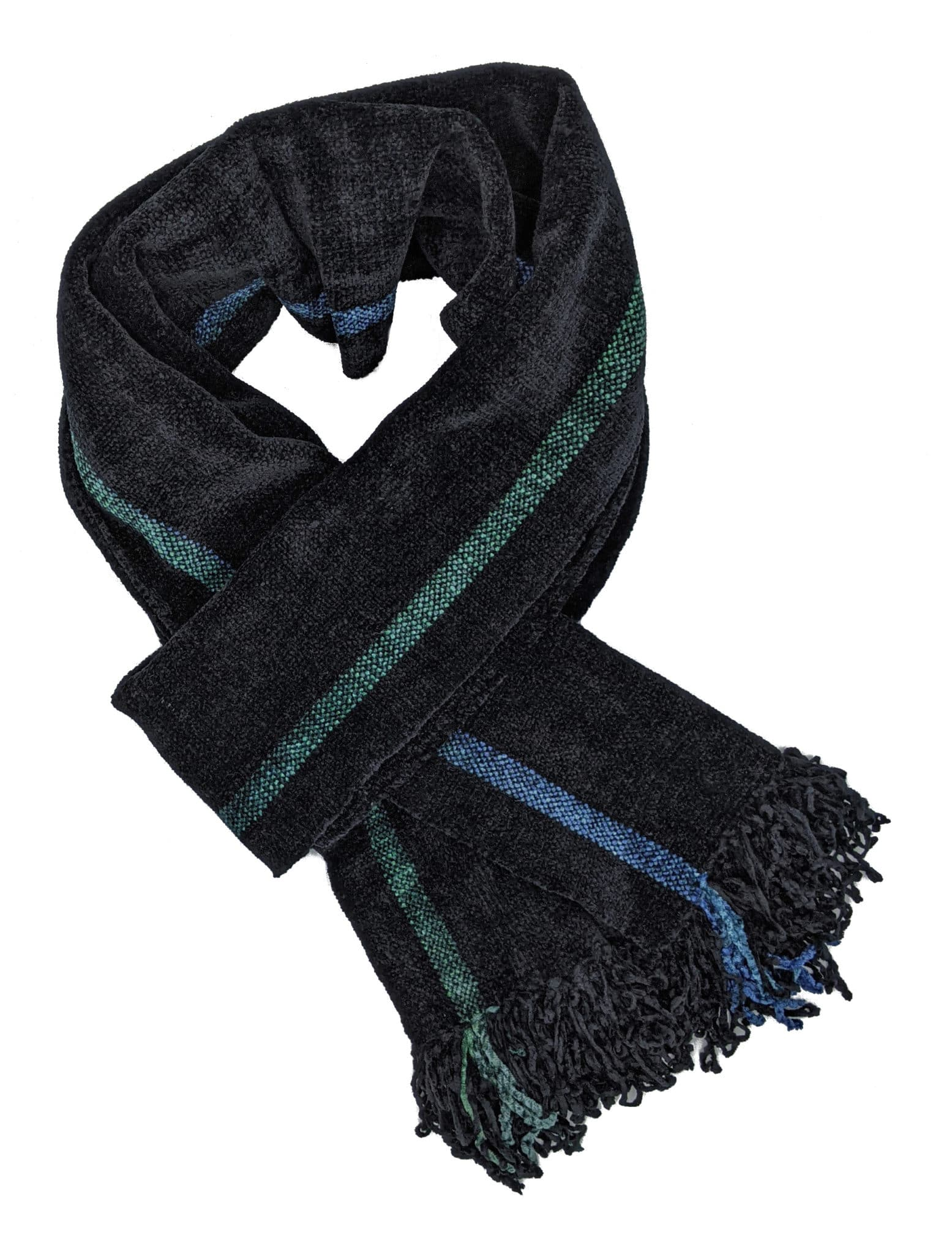Black with Two Emerald-Sapphire Stripes - Bamboo Chenille Handwoven Scarf 8 x 68