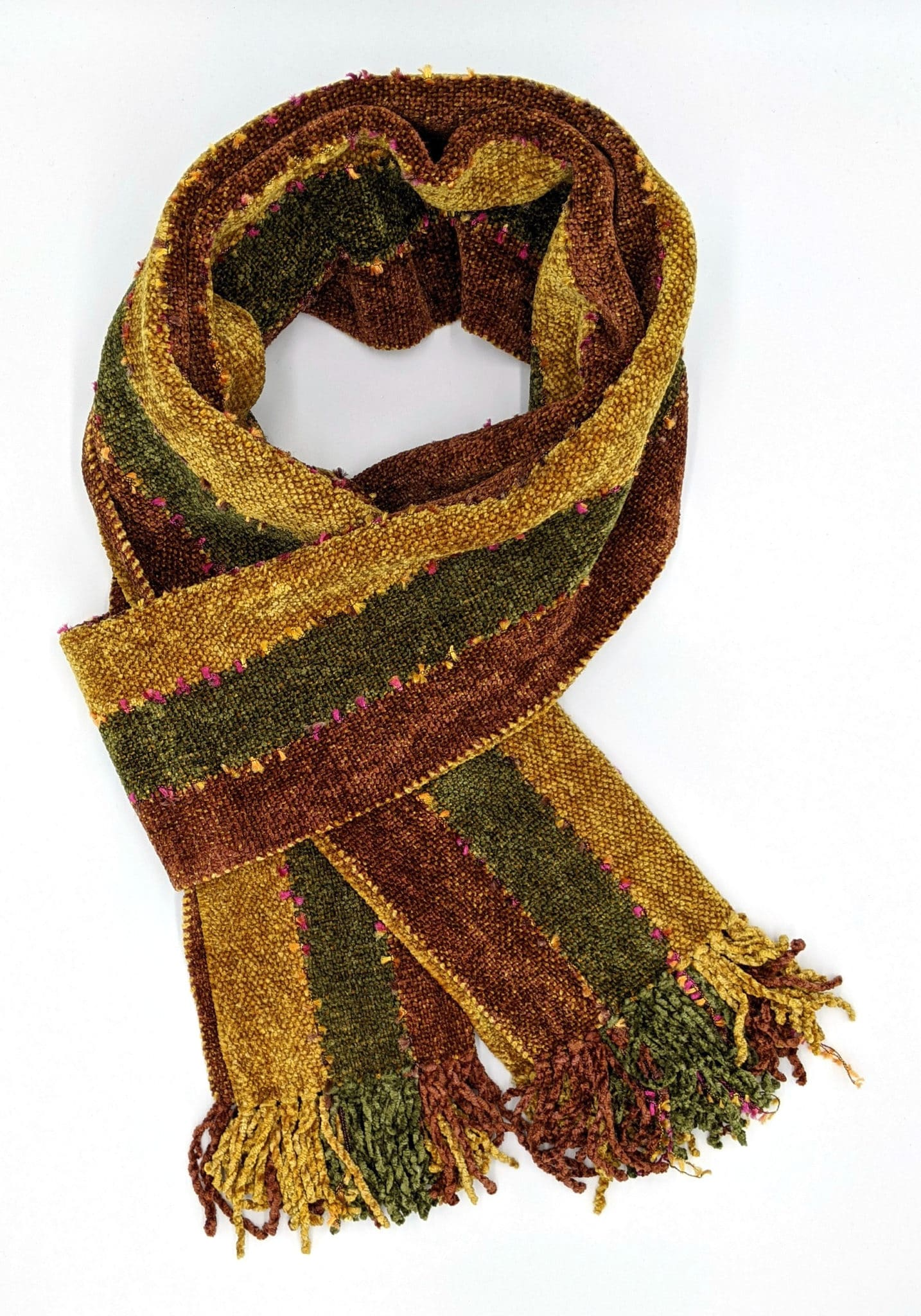 Brown, Gold, and Olive Stripes with Ornamental Yarn Accents Handwoven Bamboo Chenille Handwoven Scarf 8 x 68